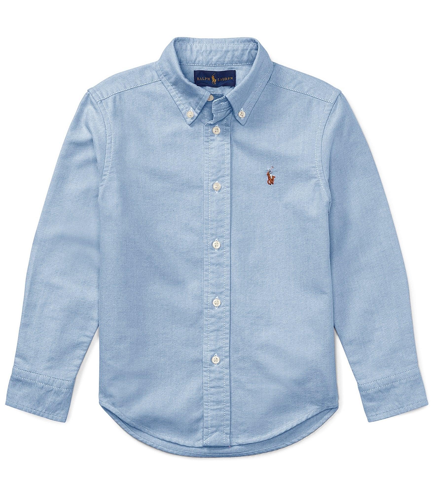 Green//white, Ralph Lauren Little Girls Cotton Buton Down Shirt