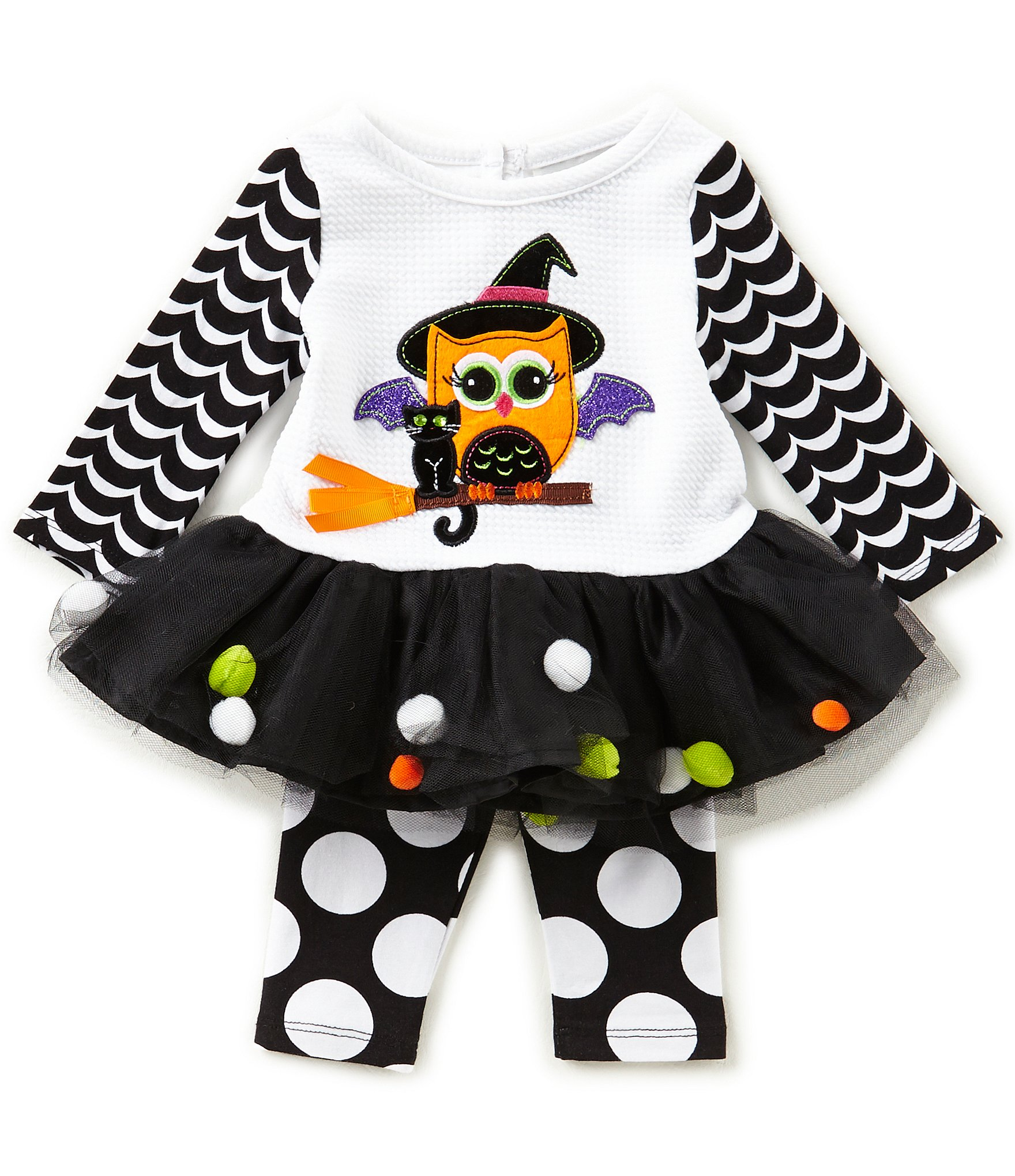 Rare Editions Baby Girls 3-24 Months Halloween Owl Dress u0026 Dotted Leggings Set | Dillards