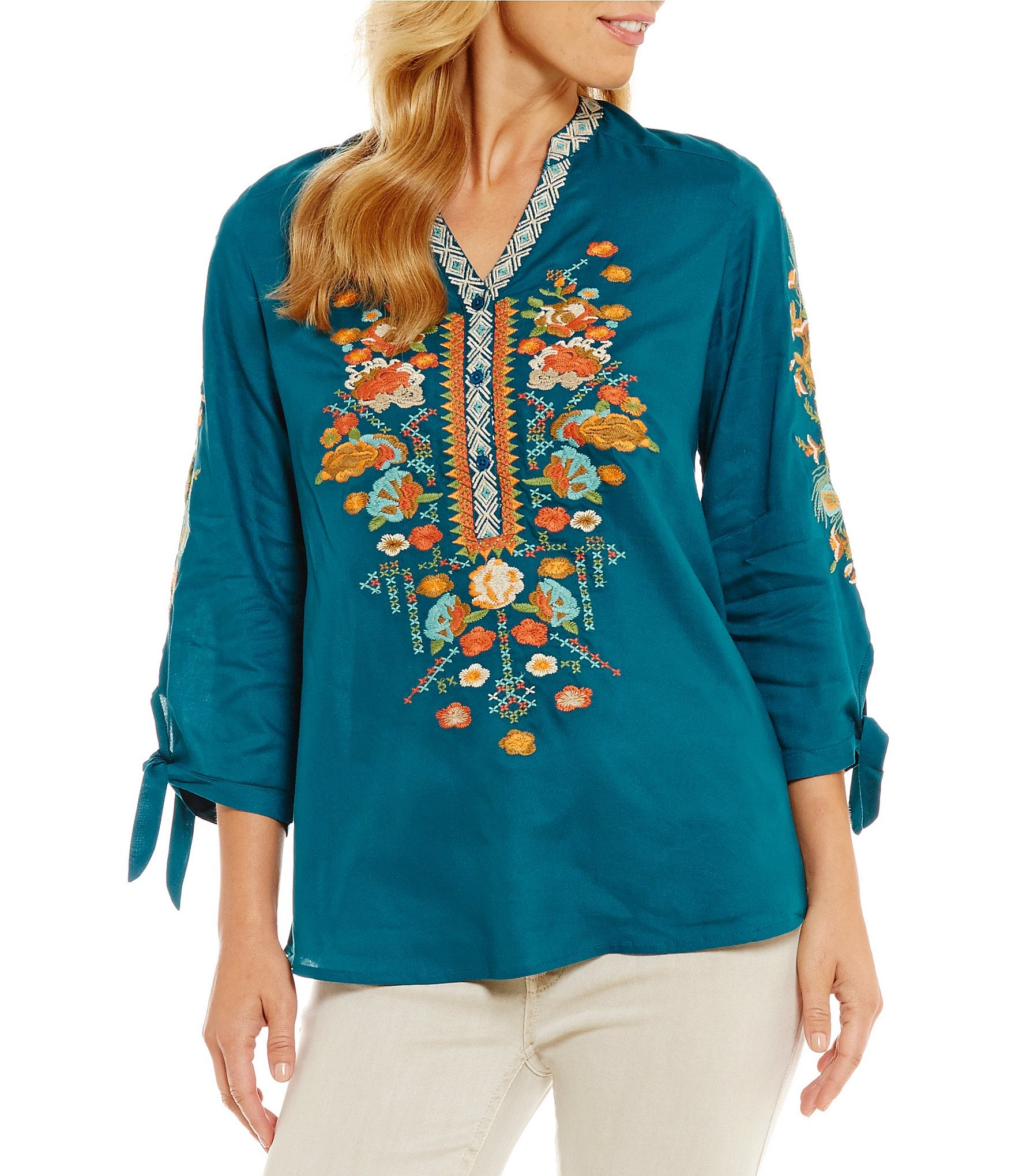 Reba floral embroidered tie sleeve tunic dillards