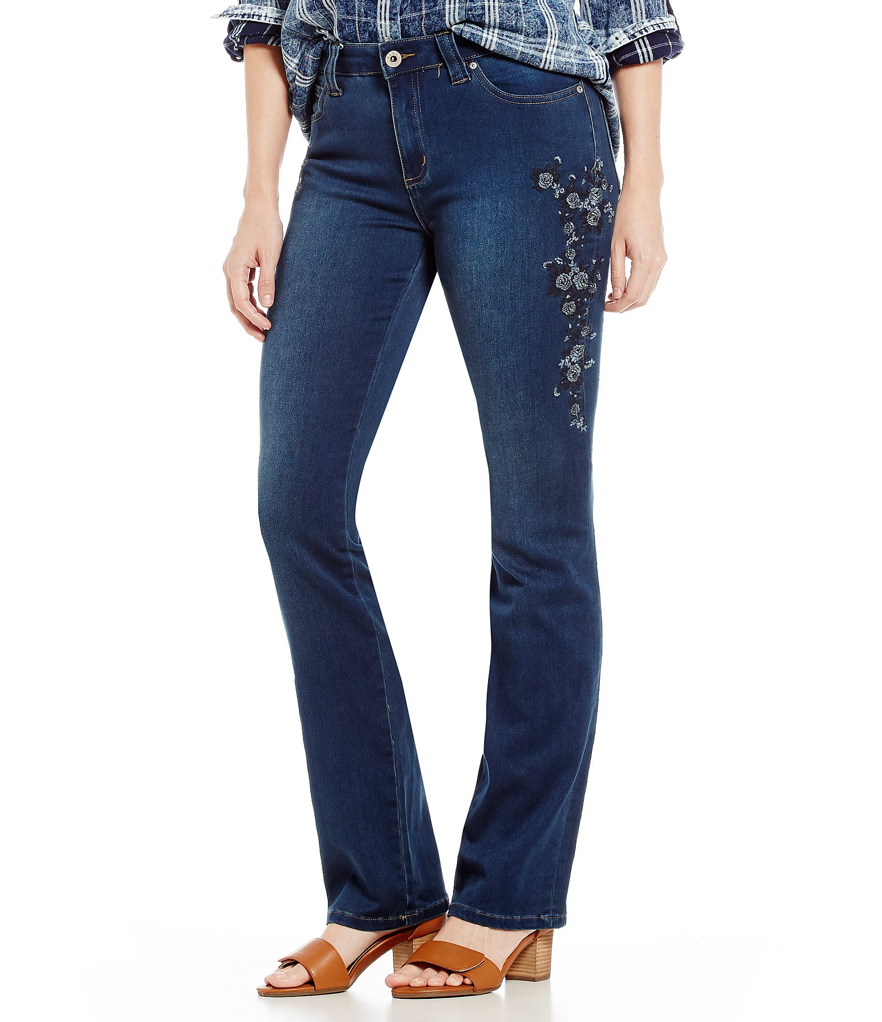Reba jayden embroidered straight leg jean dillards