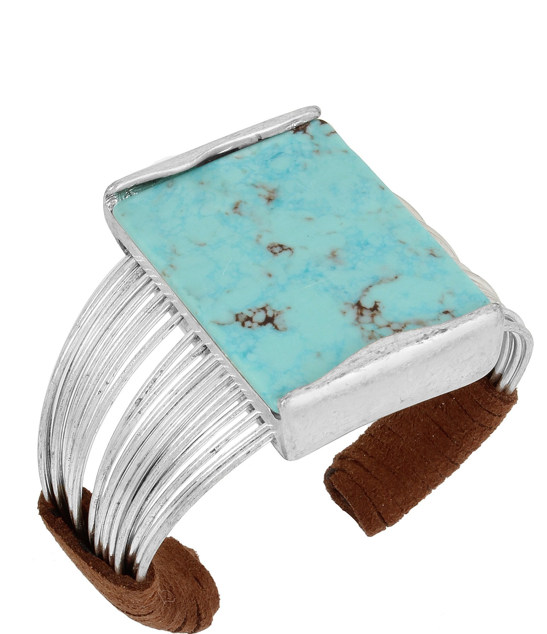 Turquoise &Amp; Suede Multi Row Cuff Bracelet by Robert Lee Morris Soho