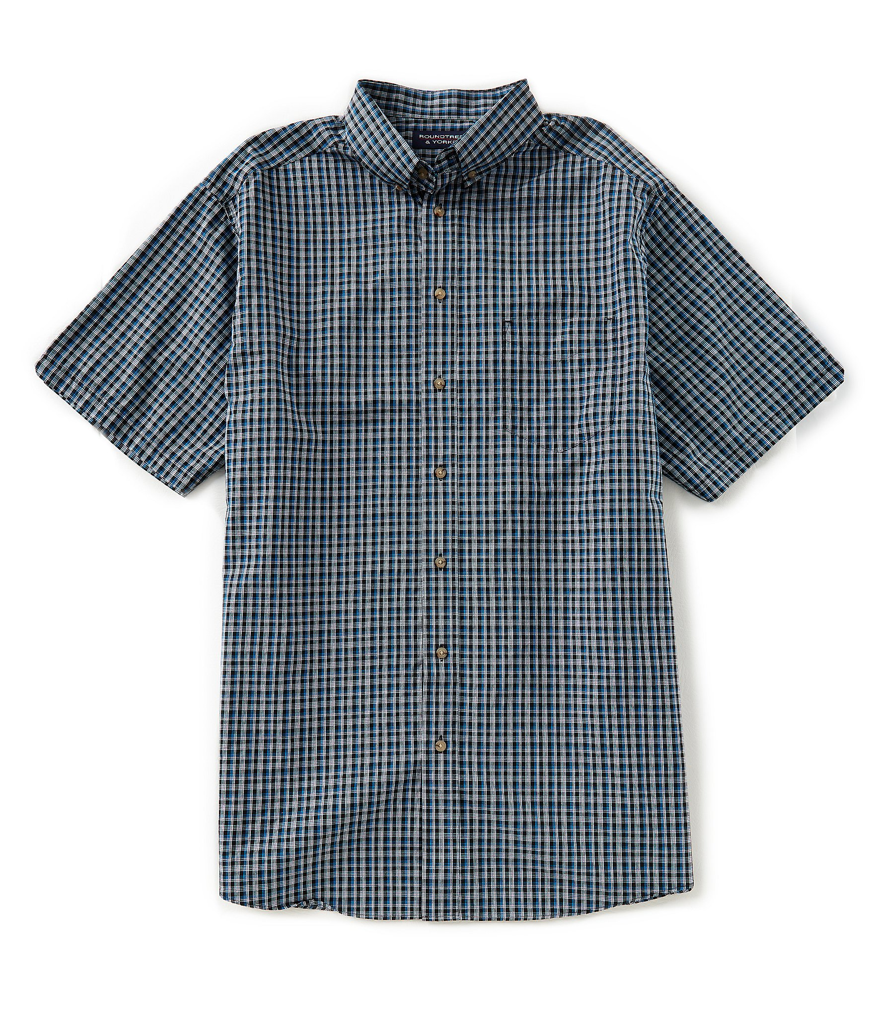 Roundtree yorke big tall untucked short sleeve checked for Untucked shirts for sale