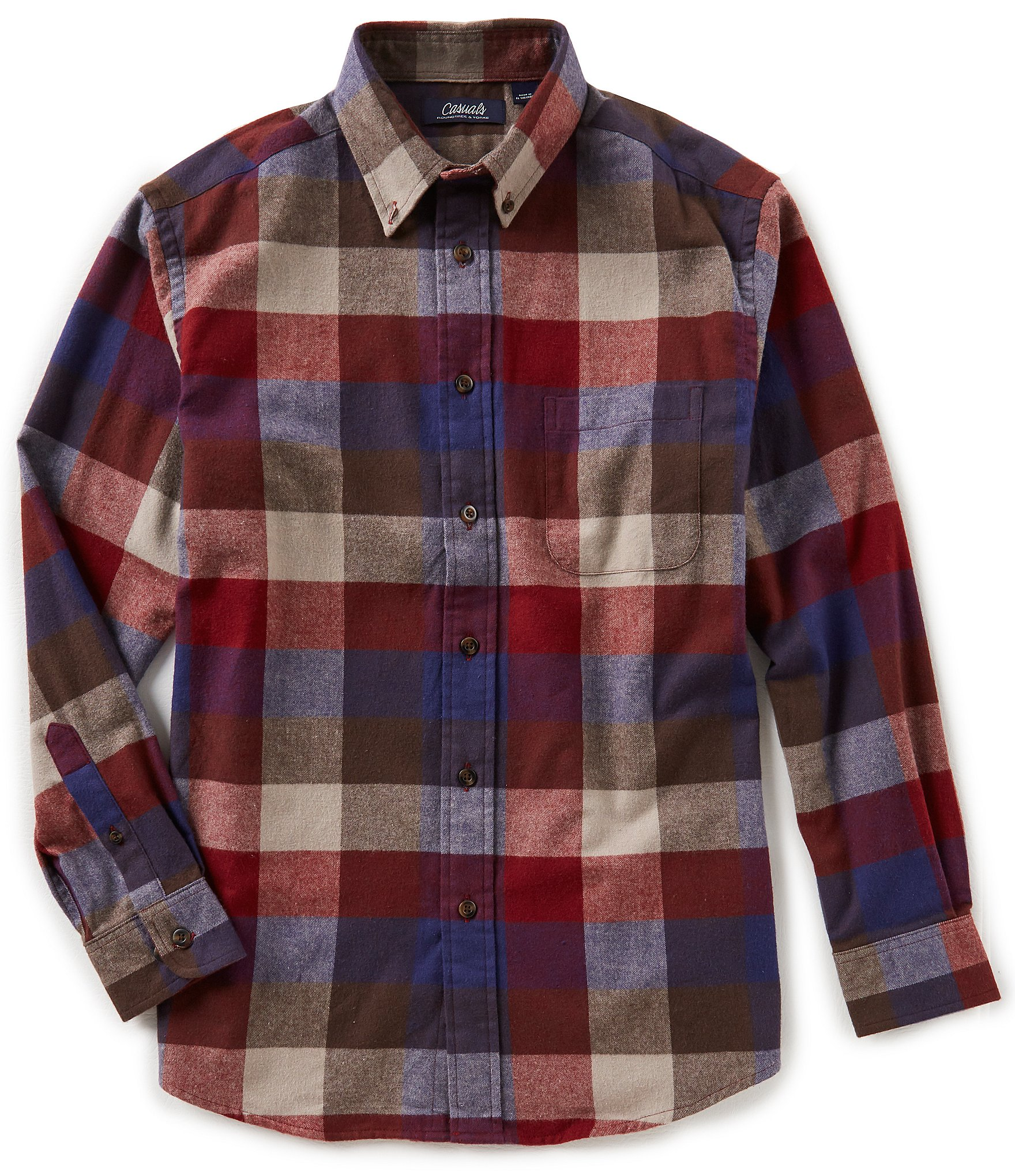 Roundtree yorke casuals big tall long sleeve buffalo for Mens 4xlt flannel shirts