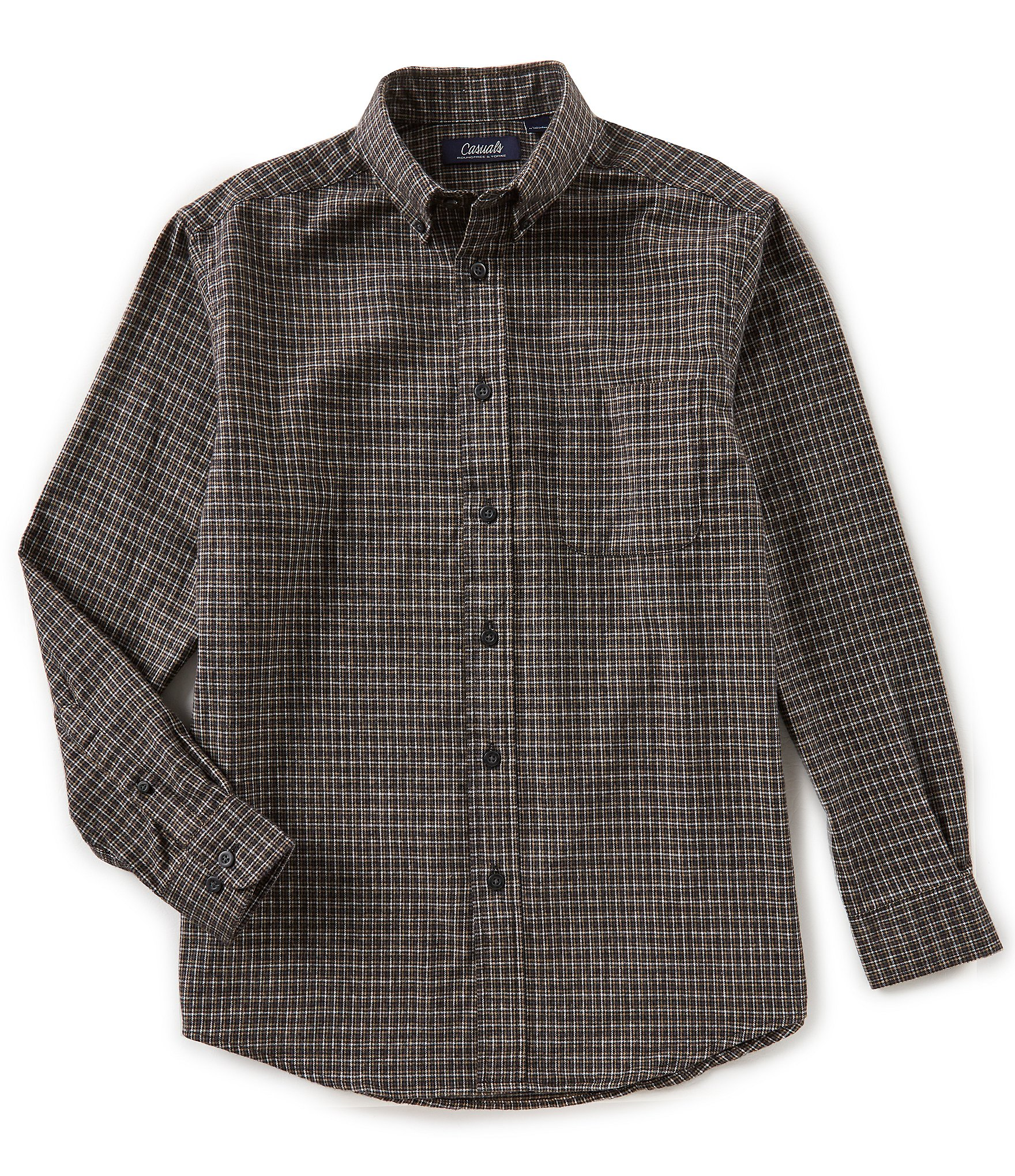 Roundtree yorke casuals big tall long sleeve checked for Mens 4xlt flannel shirts