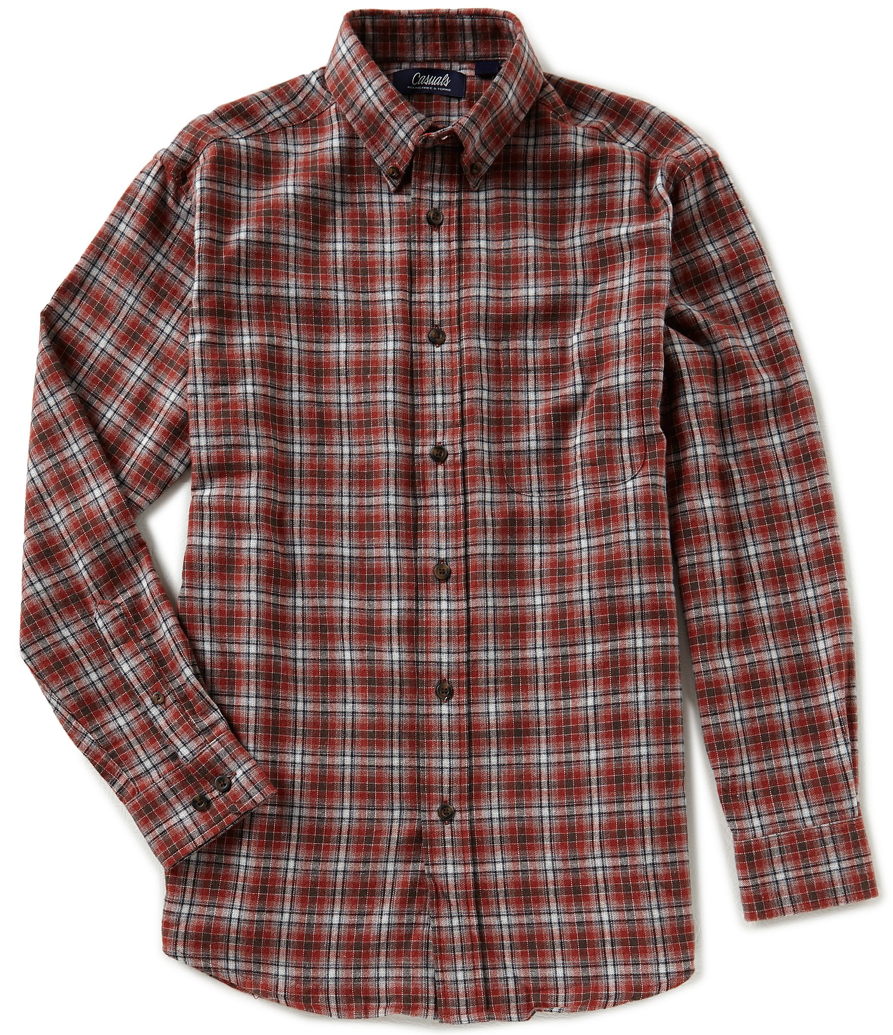 Roundtree yorke casuals big tall long sleeve medium for Mens 4xlt flannel shirts