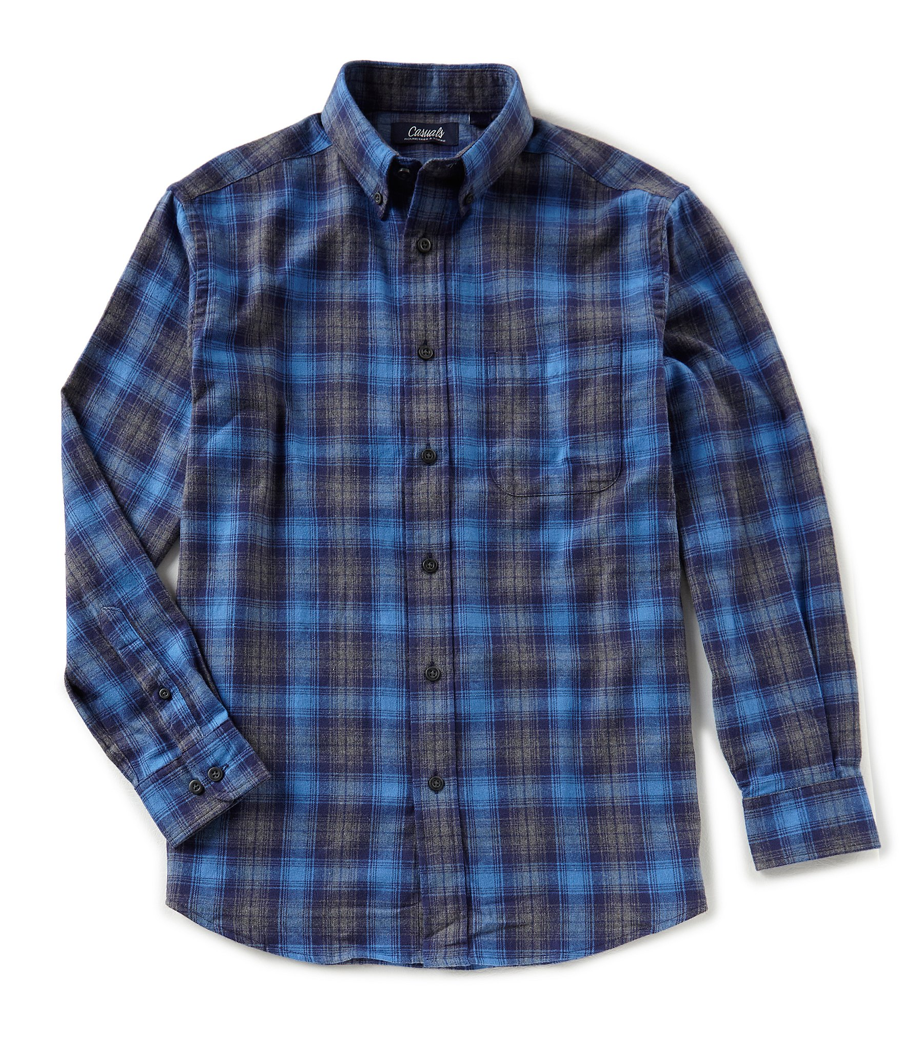 Roundtree yorke casuals big tall long sleeve plaid for Mens 4xlt flannel shirts