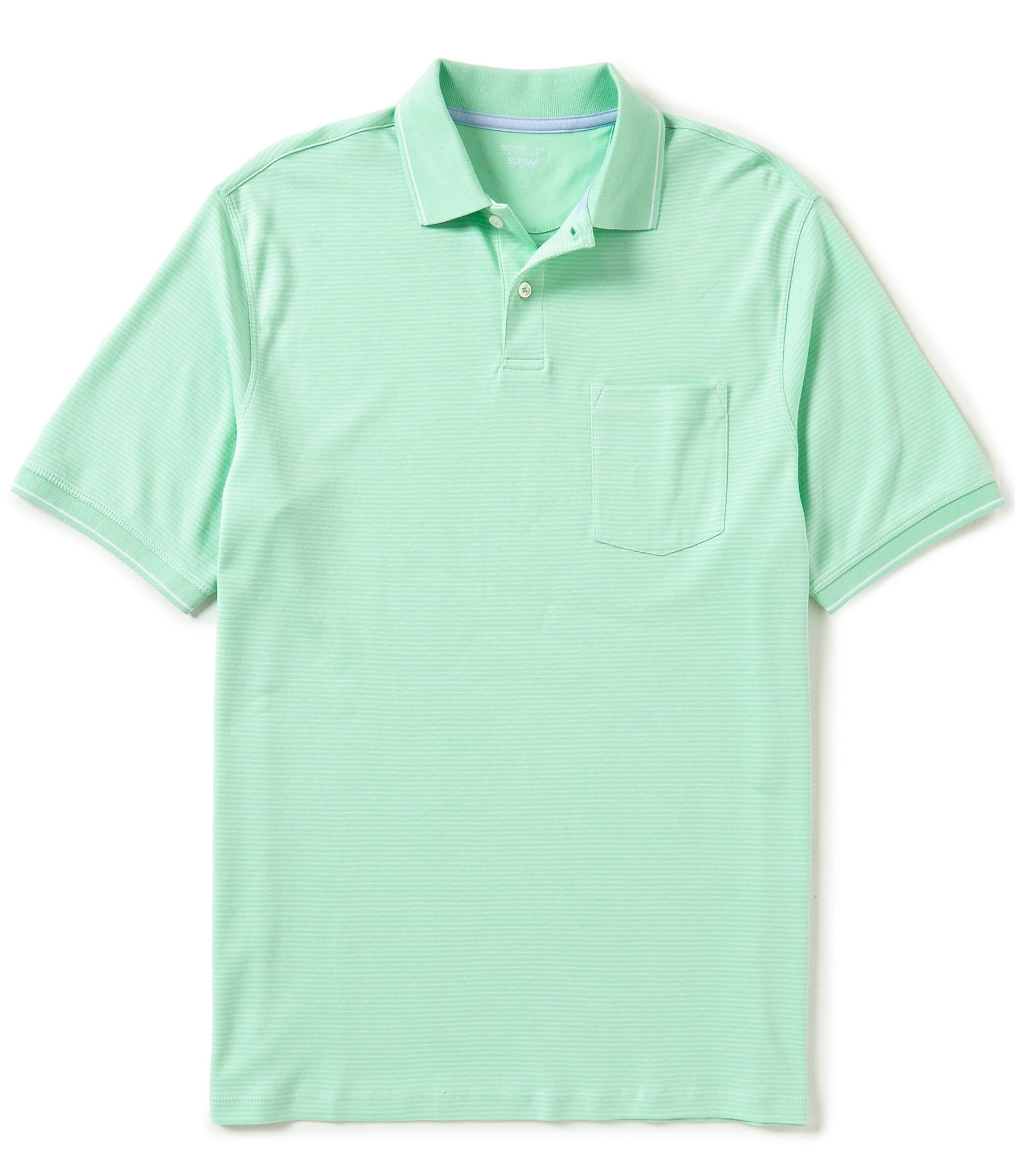 Roundtree yorke supima cotton striped short sleeve polo for Mint color polo shirt