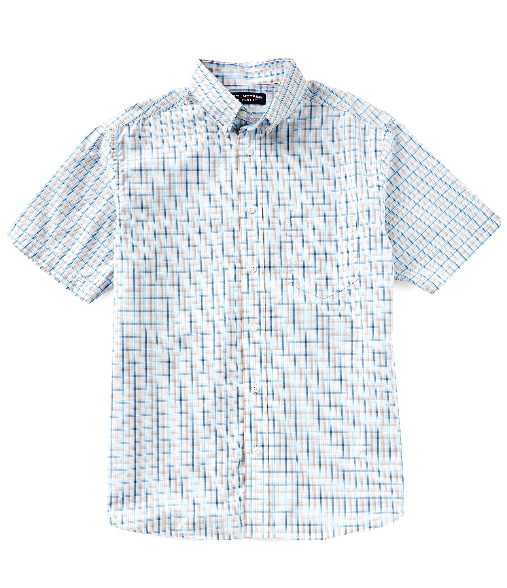Roundtree yorke untucked short sleeve checked sportshirt for Untucked shirts for sale
