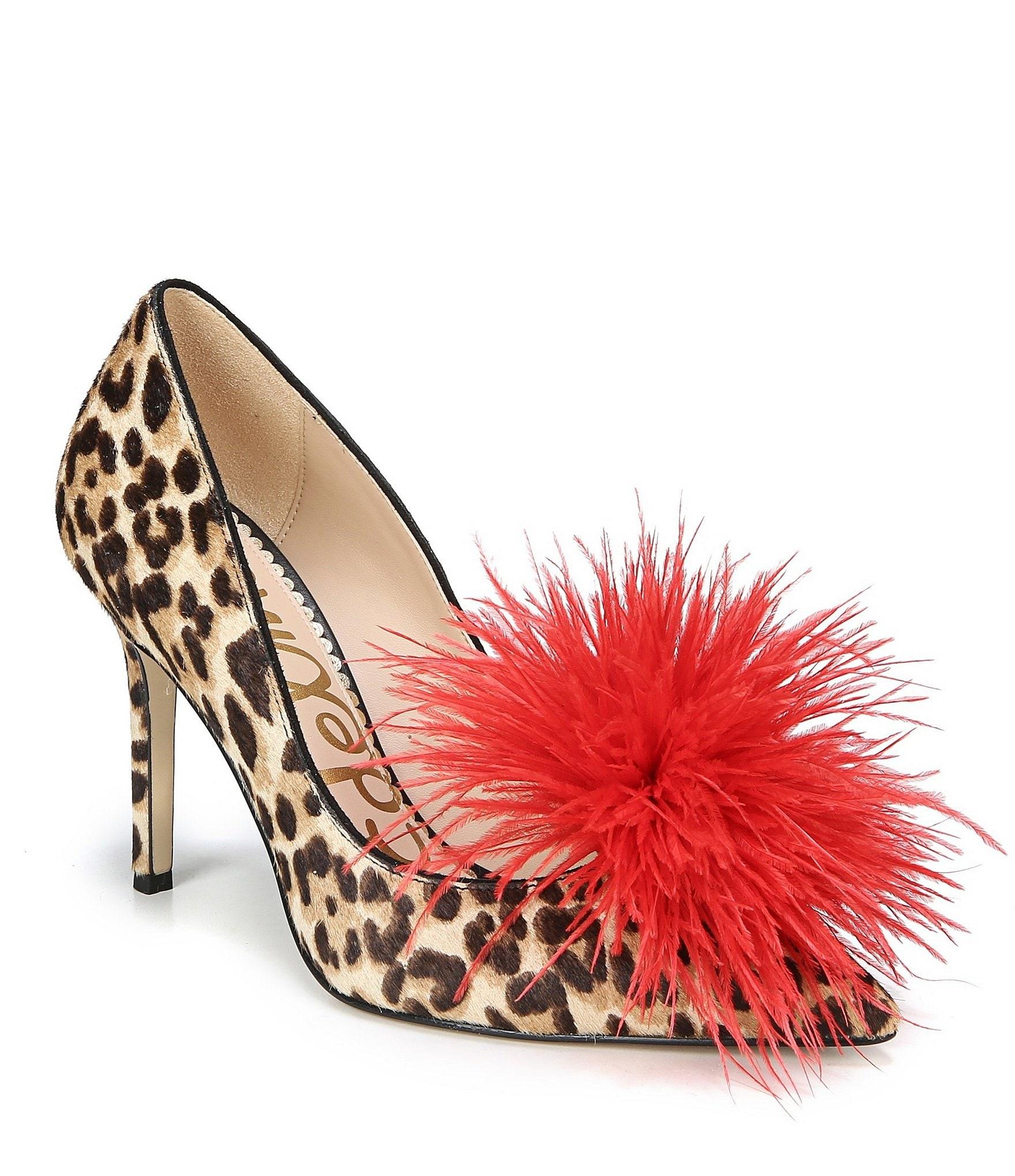 Sam Edelman Haide Leopard Brahma Hair Faux Feather Pom Pom ...