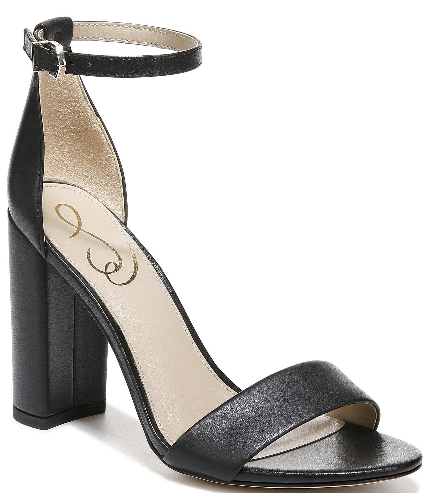 Sam Edelman Yaro Leather Ankle Strap Block Heel Dress