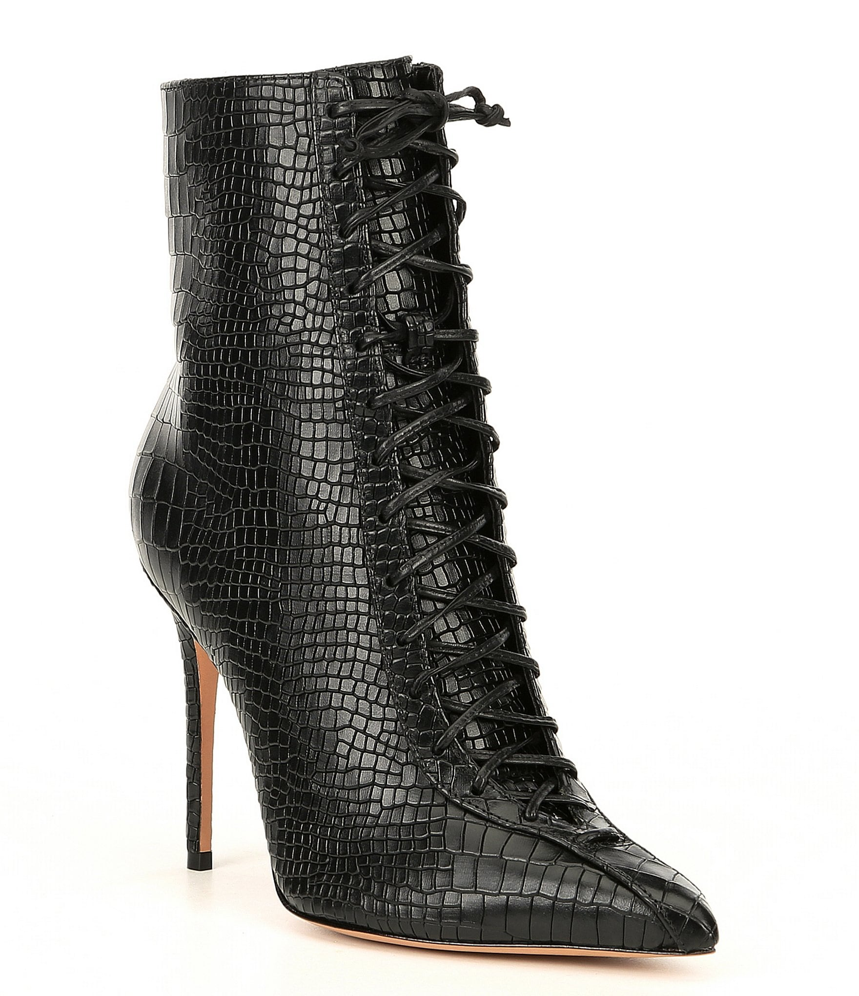 Anaiya Leather Croco Embossed Stiletto Booties by Schutz