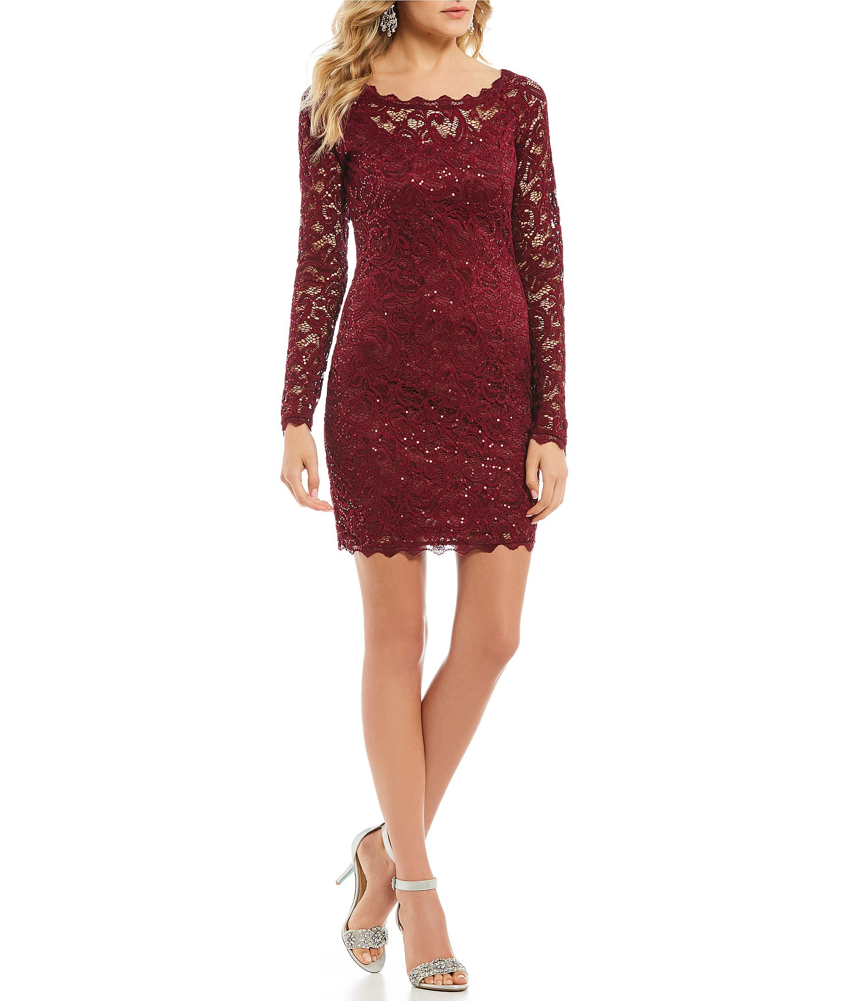 Sequin Hearts Long Sleeve Sequin Lace Sheath Dress | Dillard's
