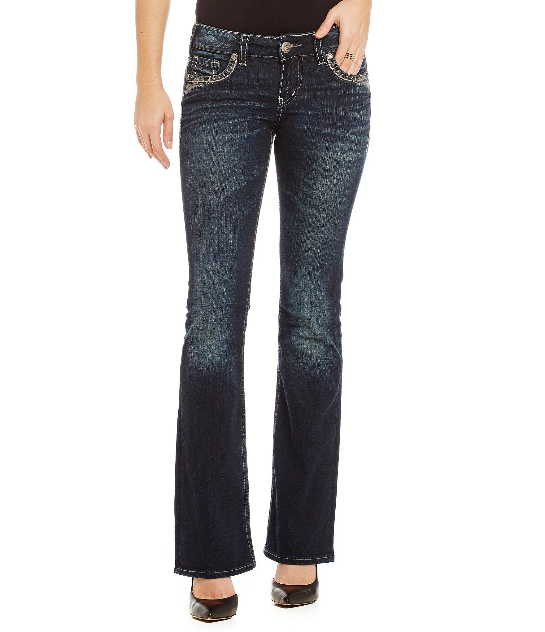 silver jeans co suki mid rise stretch denim bootcut jeans dillards. Black Bedroom Furniture Sets. Home Design Ideas