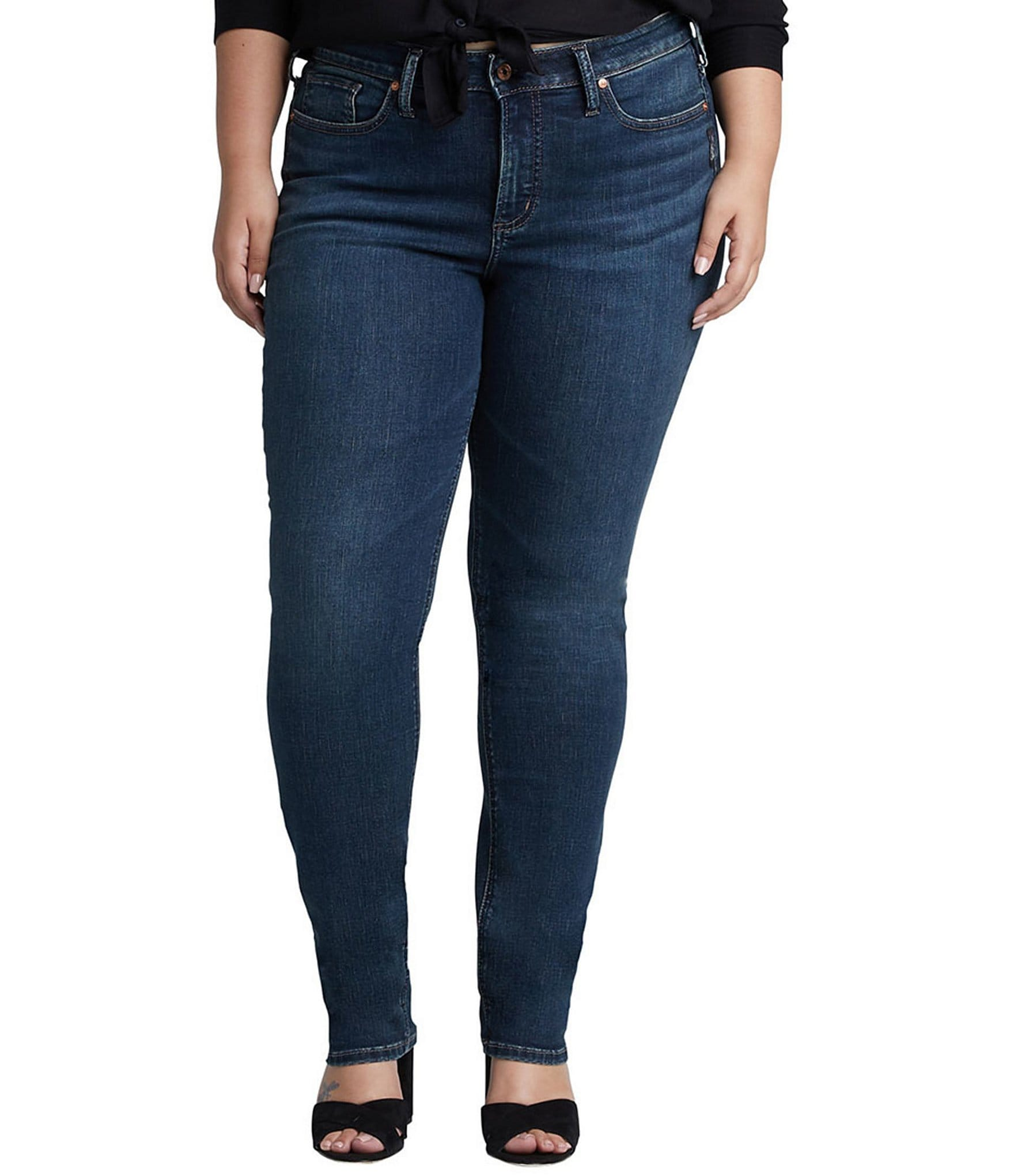 Silver Jeans Co Womens Plus Size Avery Curvy Fit High Rise Skinny Jeans