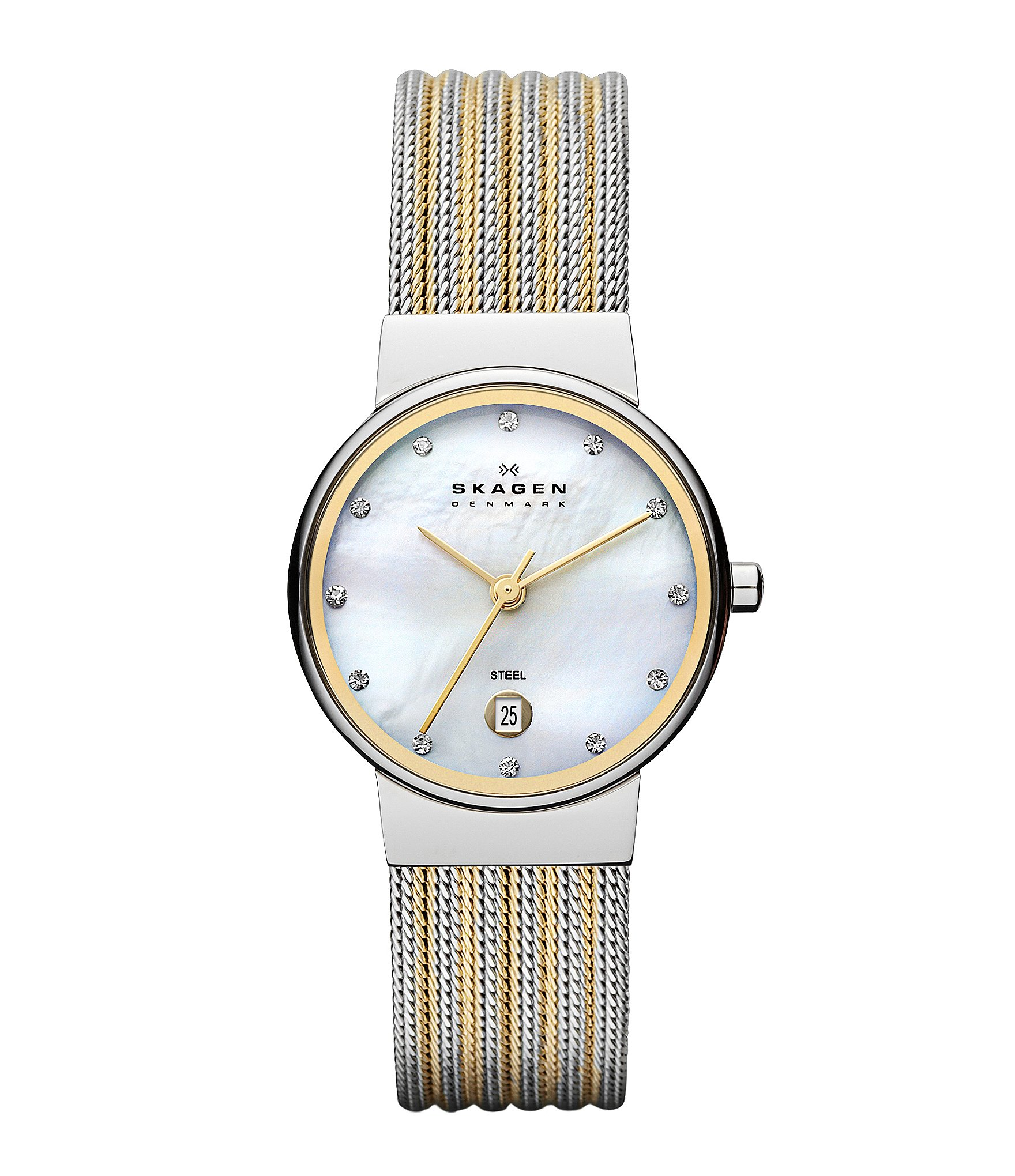 skagen classic 3 stainless steel striped mesh
