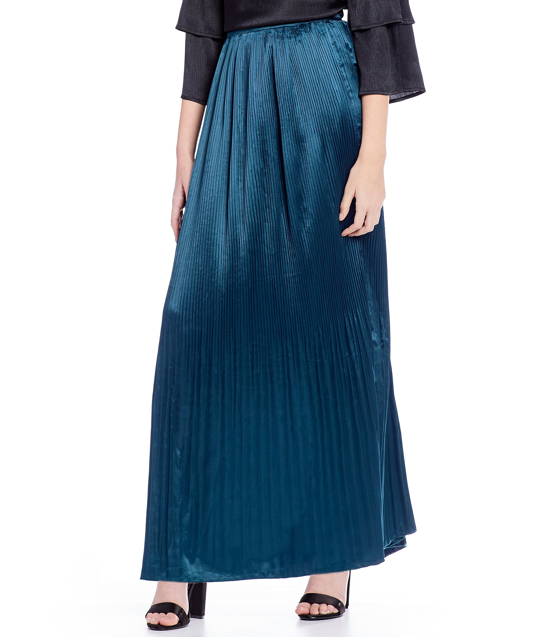 skies are blue pleated maxi skirt dillards