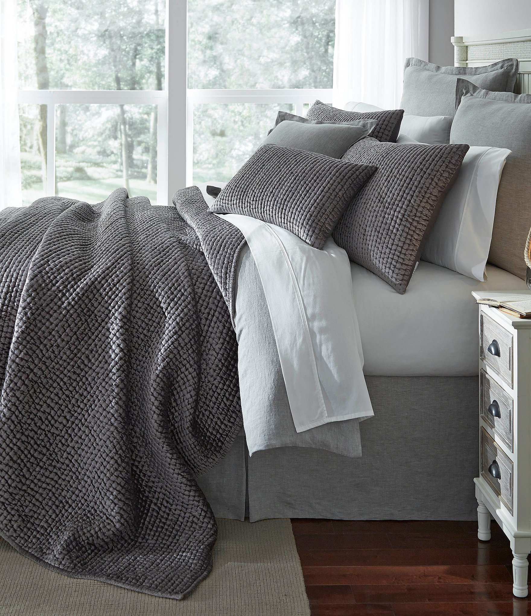 Gray Velvet Coverlet : Southern living camden velvet satin coverlet mini set