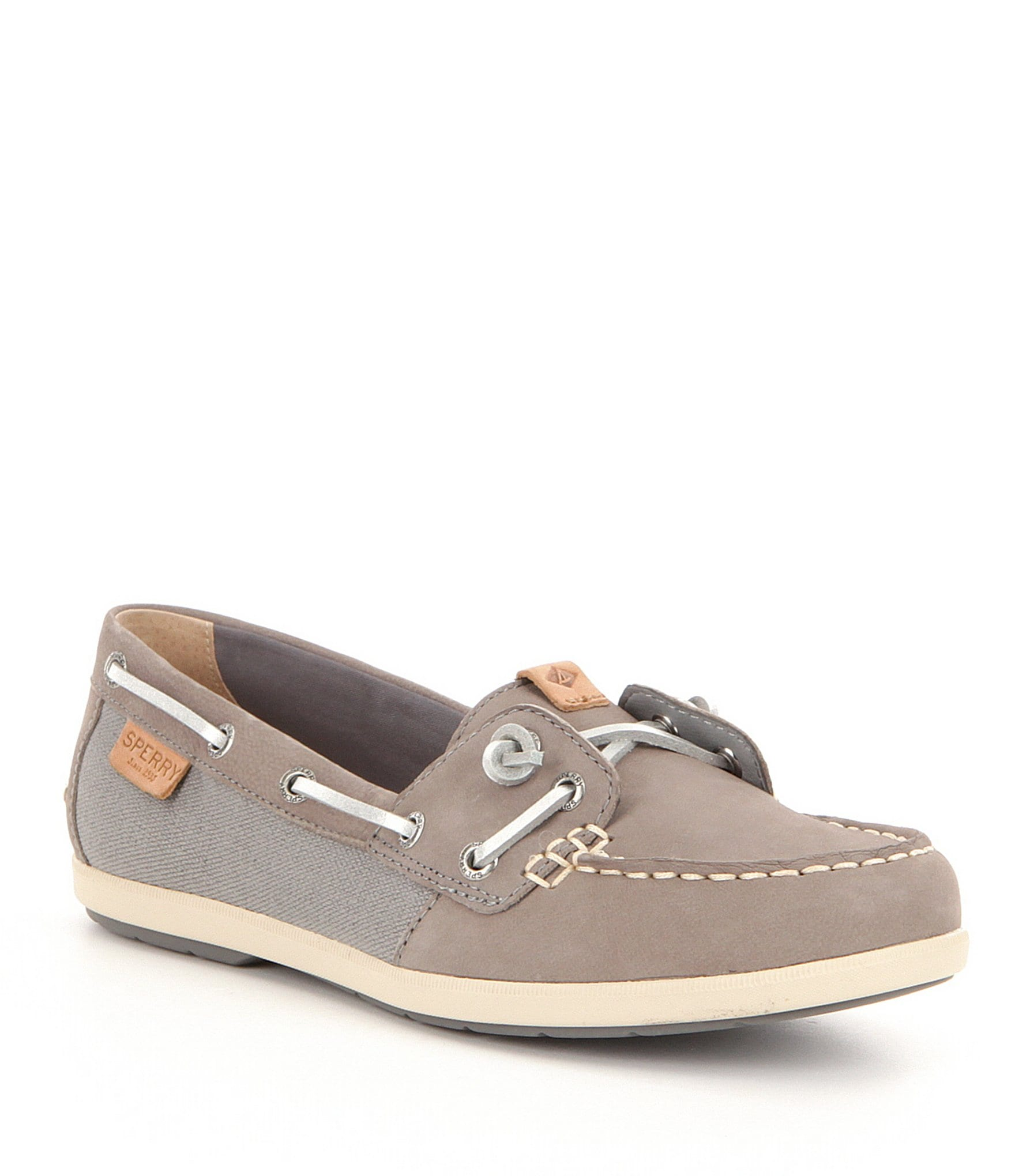 sperry coil leather and textile slip on boat shoes