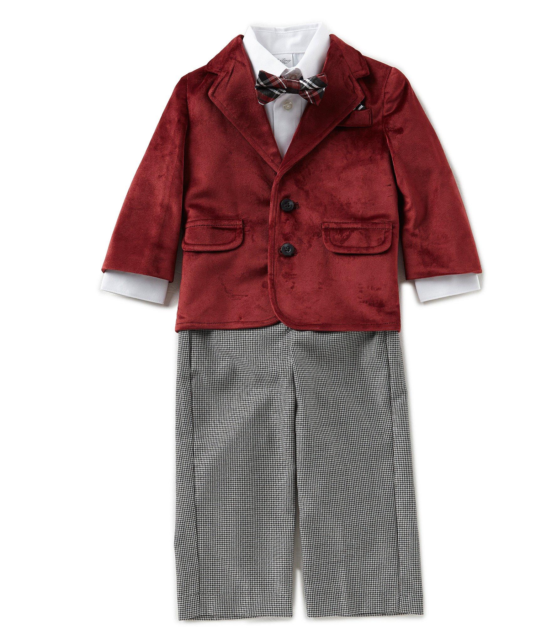 Starting out baby boys 12 24 months velvet jacket button for Red velvet button up shirt