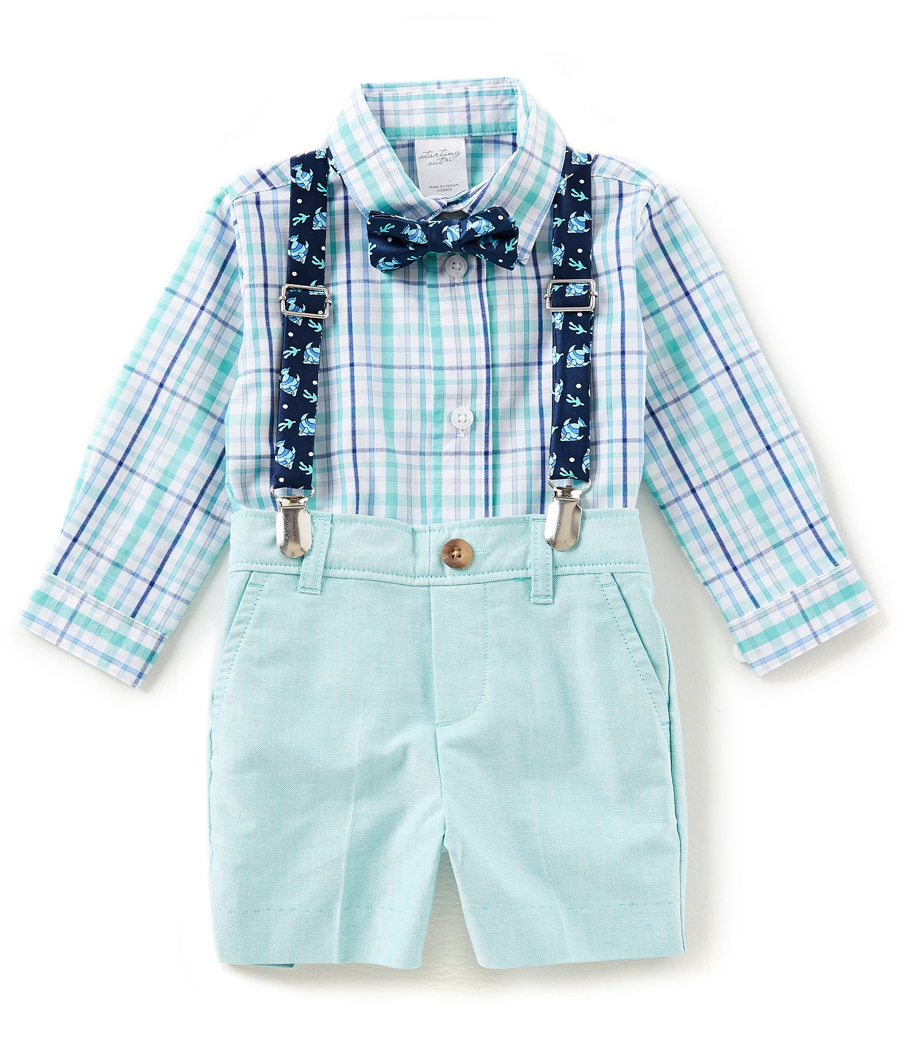 Starting out baby boys 3 24 months button down shirt for Baby shirt and bow tie