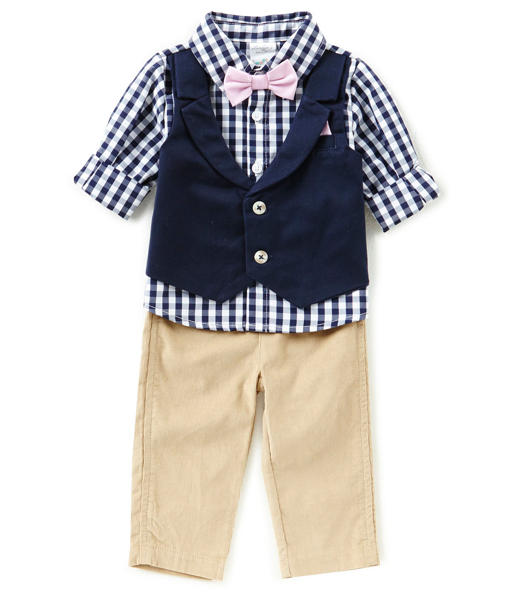 Starting out baby boys 3 24 months gingham print shirt for Baby shirt and bow tie