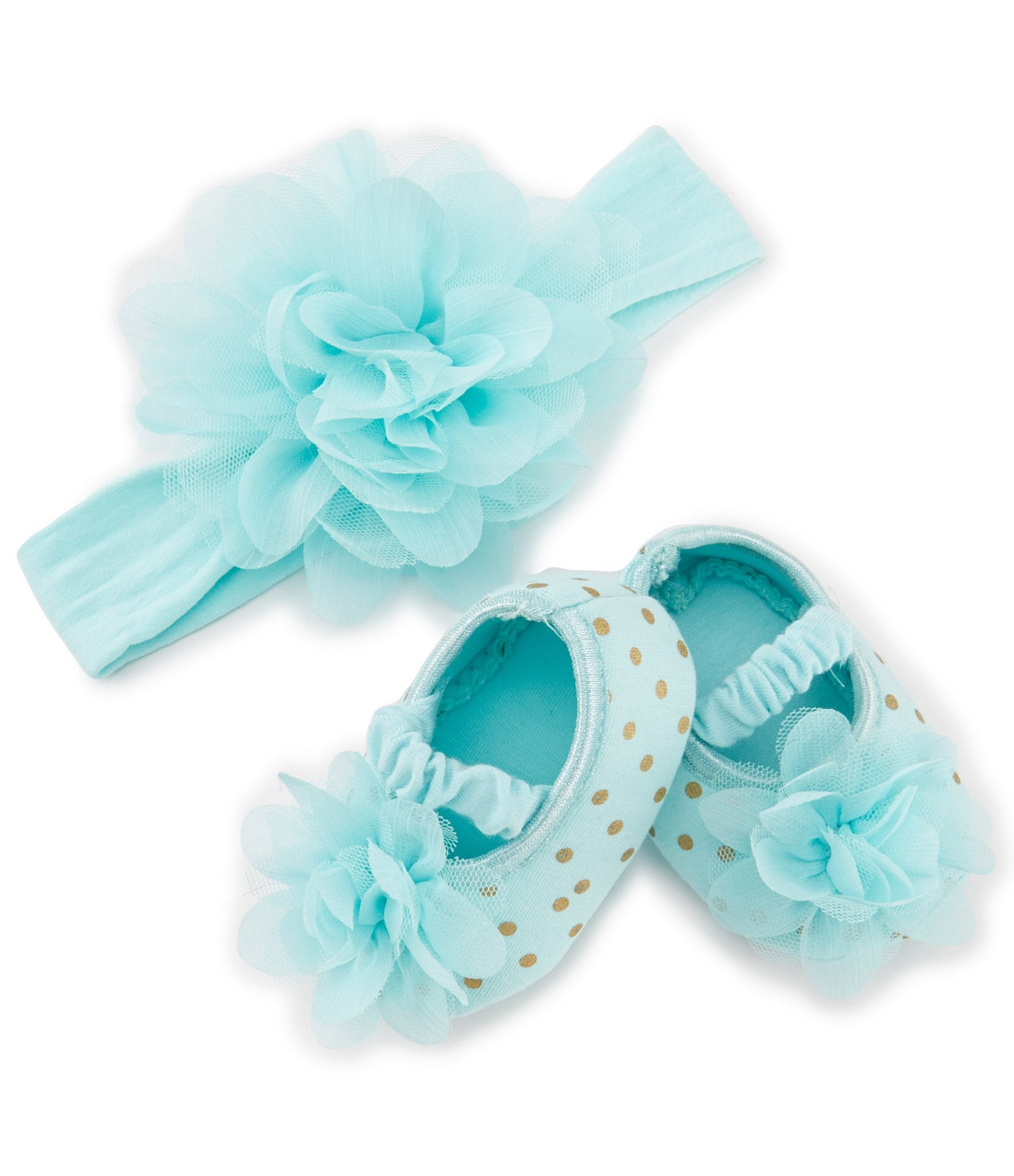 Starting Out Baby Girls Dotted Crib Shoes & Headband Set