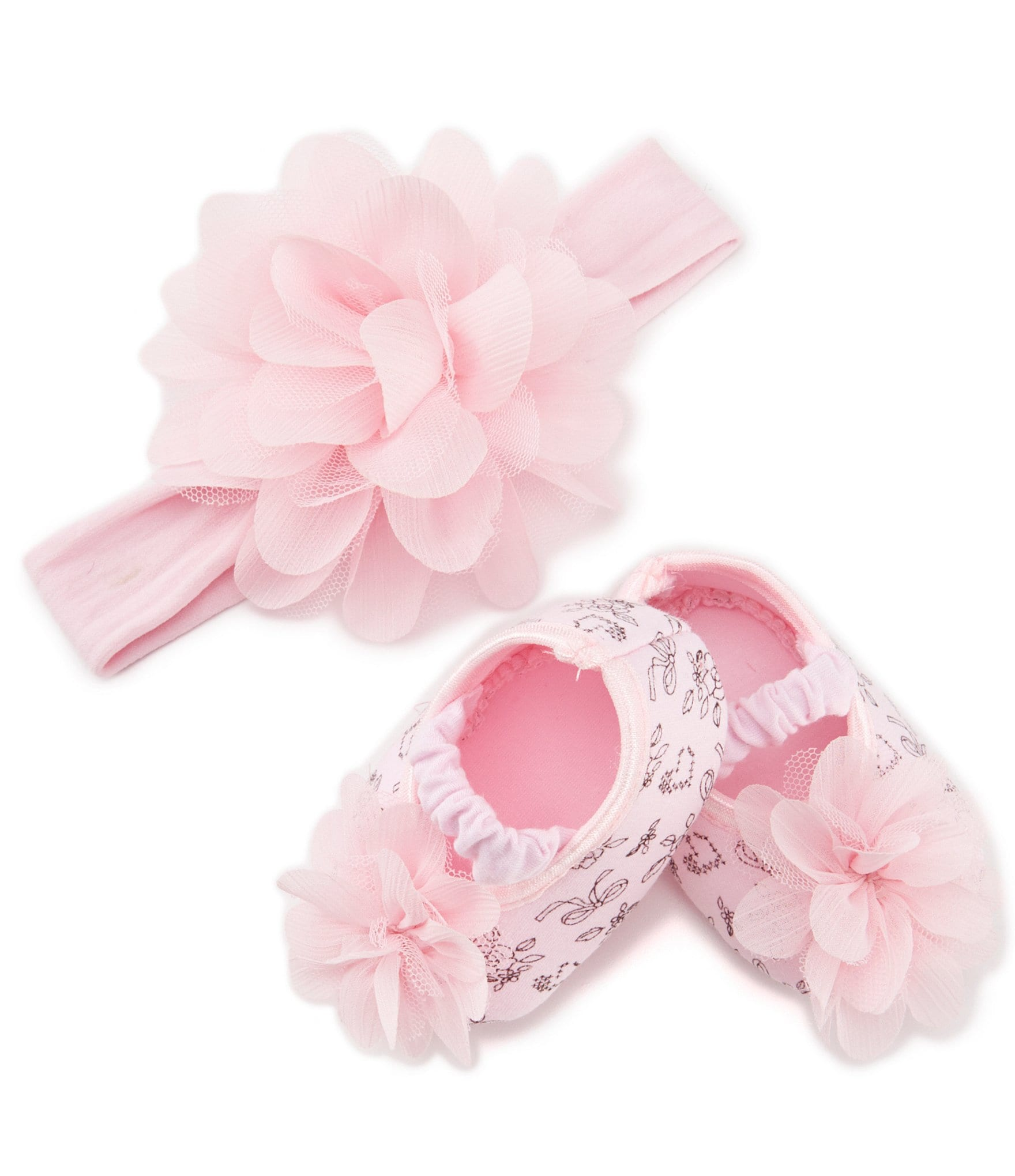 Starting Out Baby Girls Patterned Crib Shoes & Headband