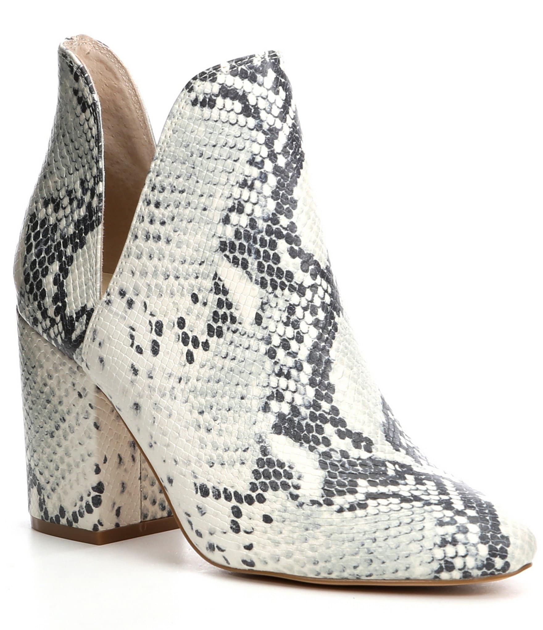28cb2bf4ff6 Steve Madden Rookie Snake Print Ankle V-Cut Booties