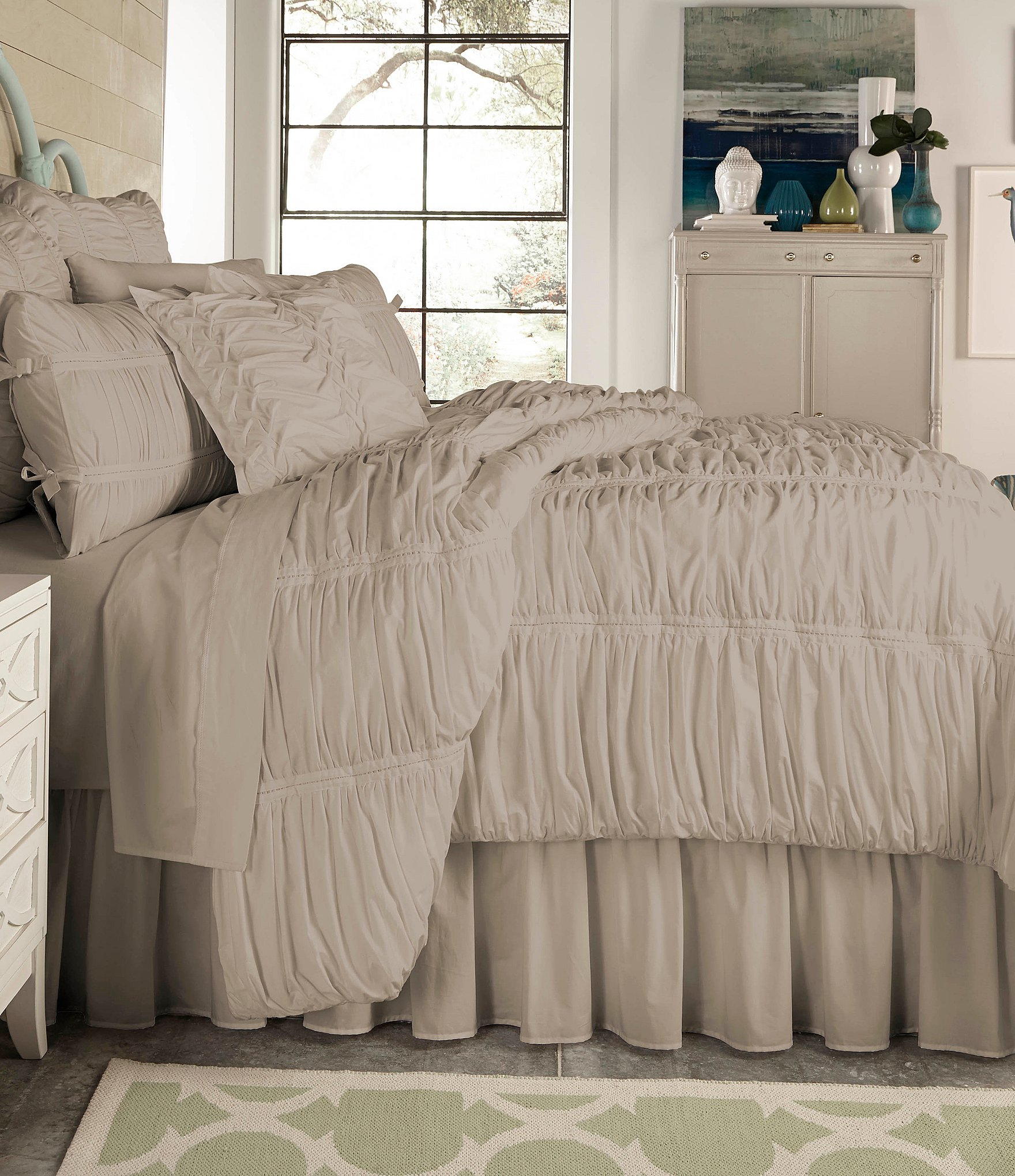 Studio D Allegro Ruched Cotton Percale Comforter Dillards