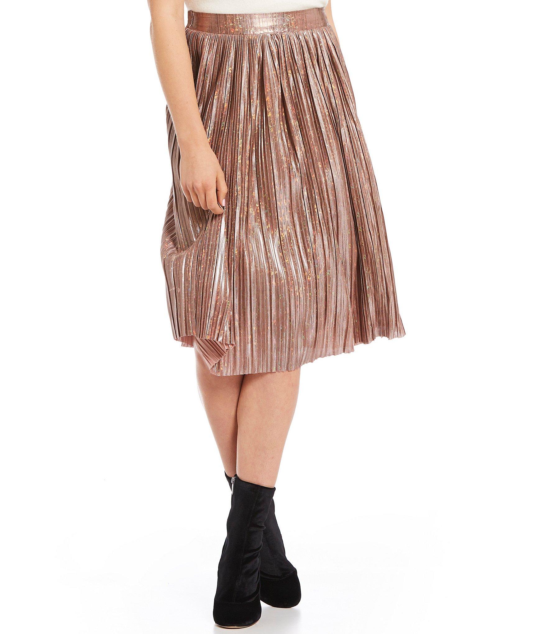 sugarlips pleated metallic midi skirt dillards