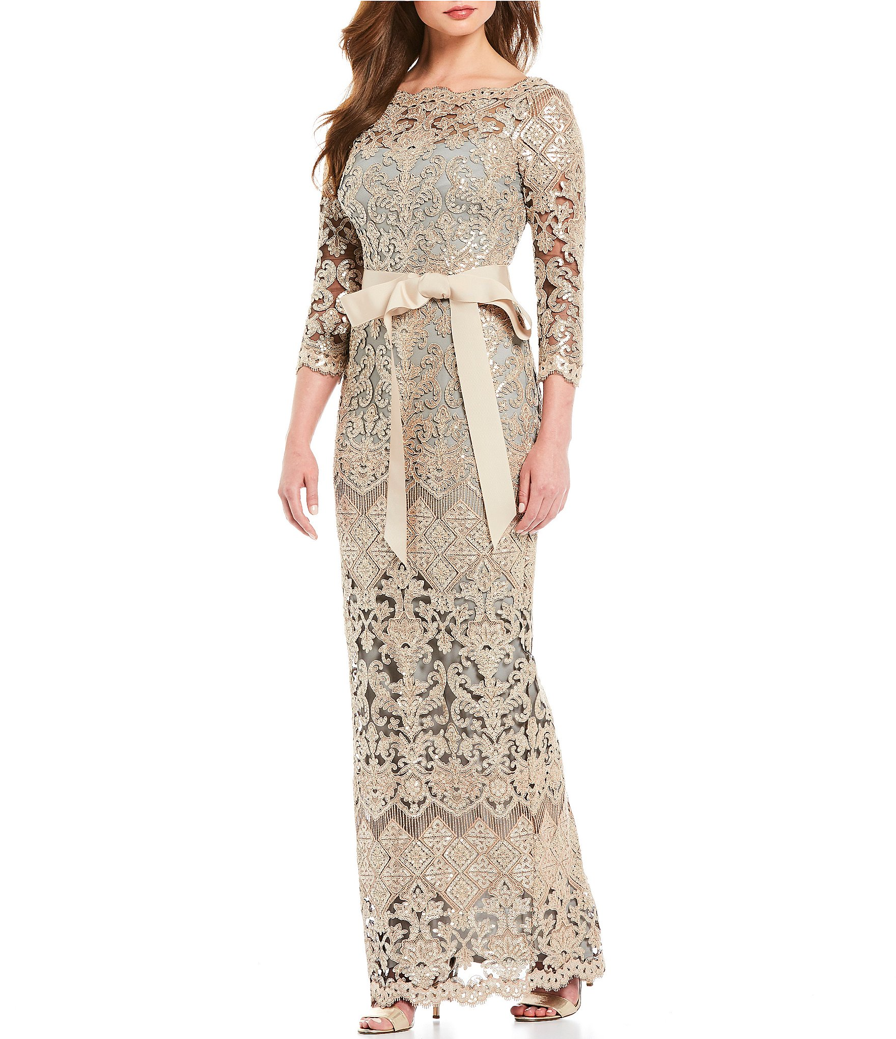 Tadashi Shoji Boat Neck Sequin Lace Illusion Ribbon Belt Gown