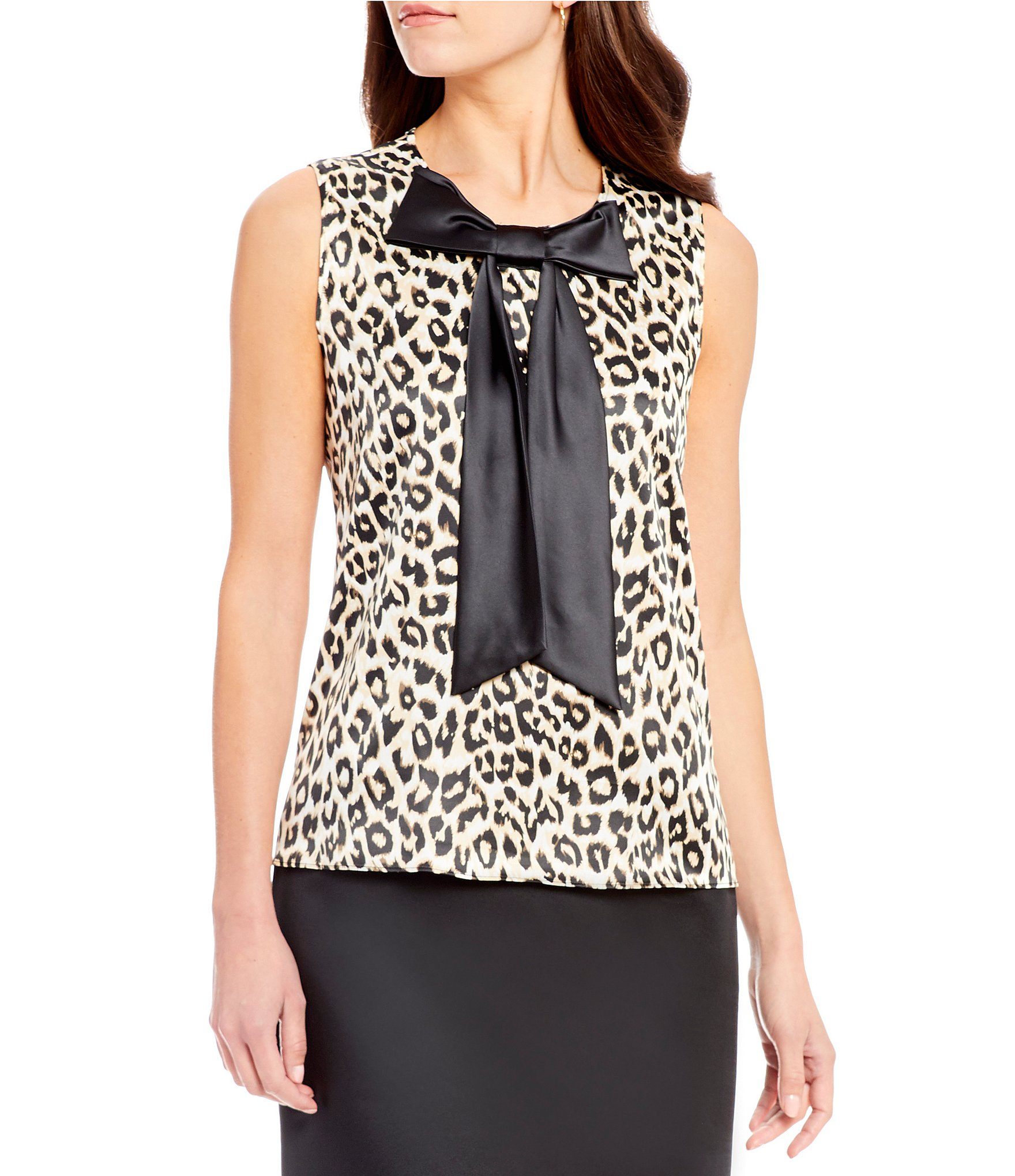 Sleeveless Leopard Print Blouse