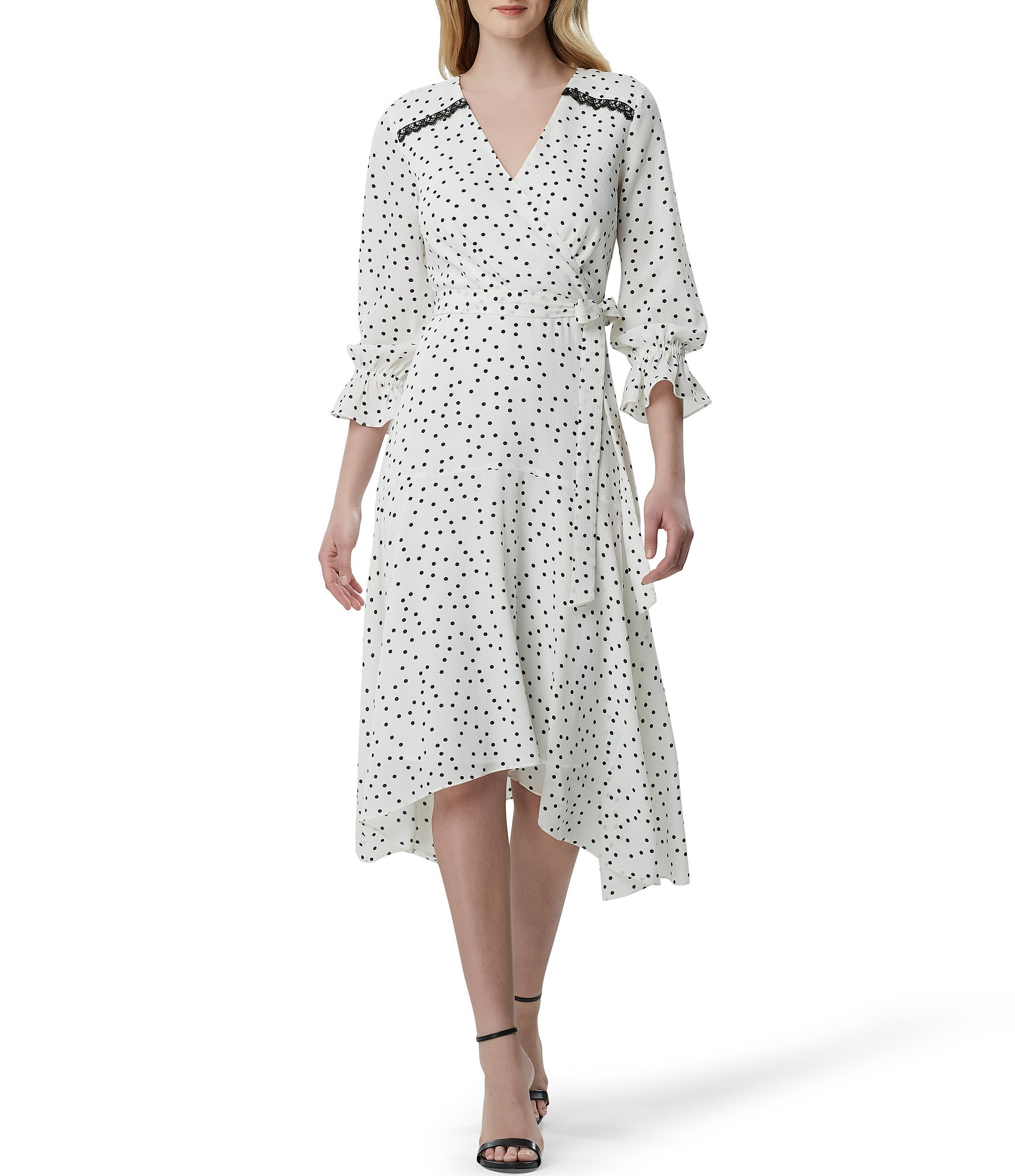 Printed Crepe Wrap Peasant Sleeve Midi Dress by Tahari Asl