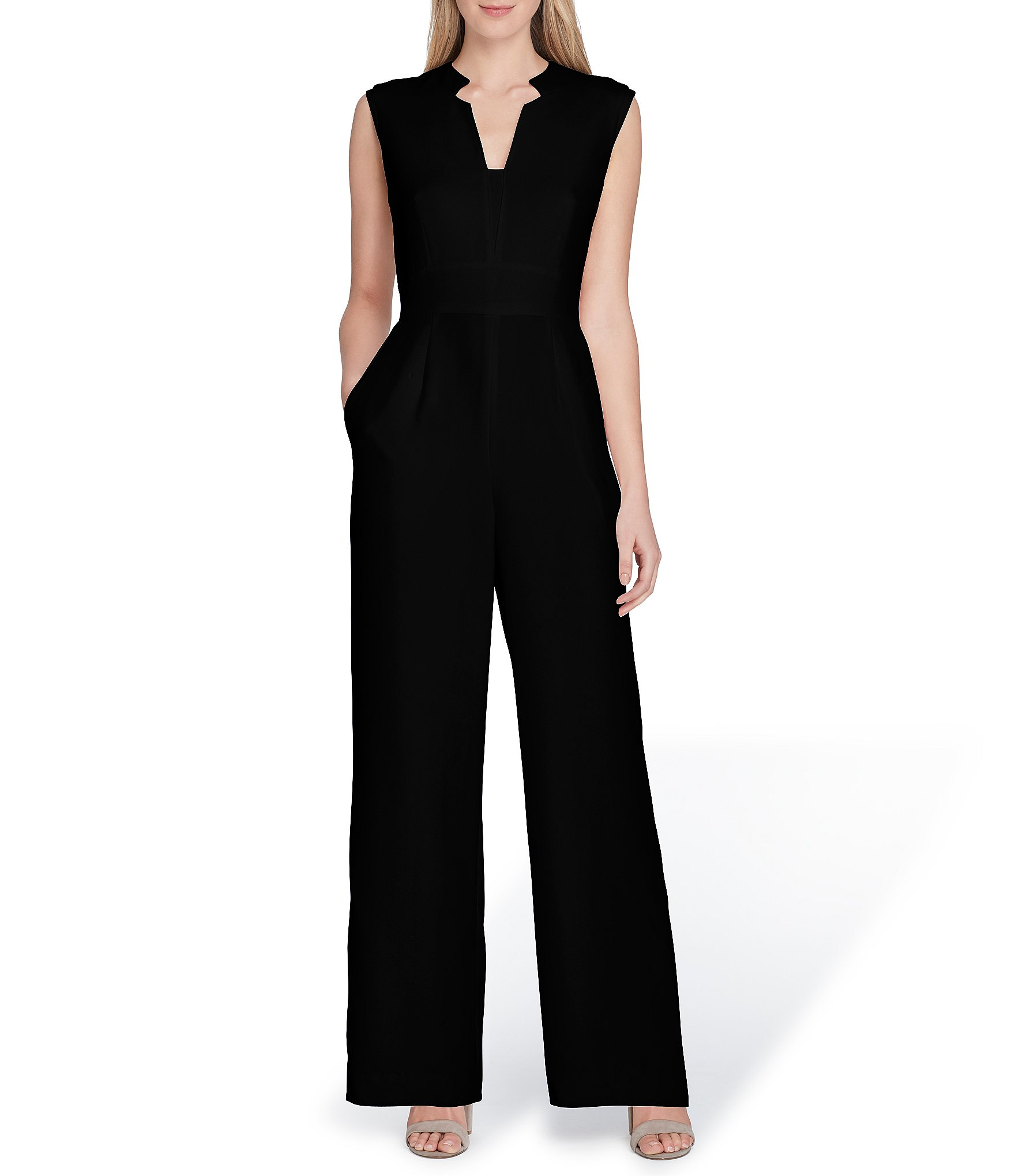 365b398f06c Tahari by ASL Raised Collar Sleeveless Solid Crepe Jumpsuit