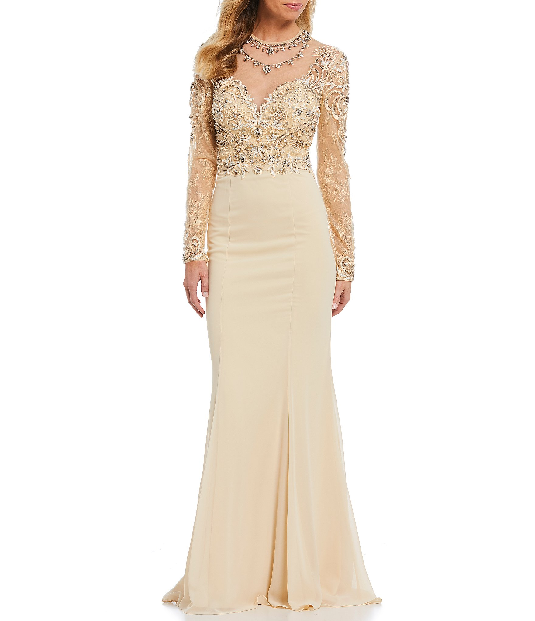Dillards Wedding Gifts: Terani Couture Beaded Illusion Bodice Chiffon Gown