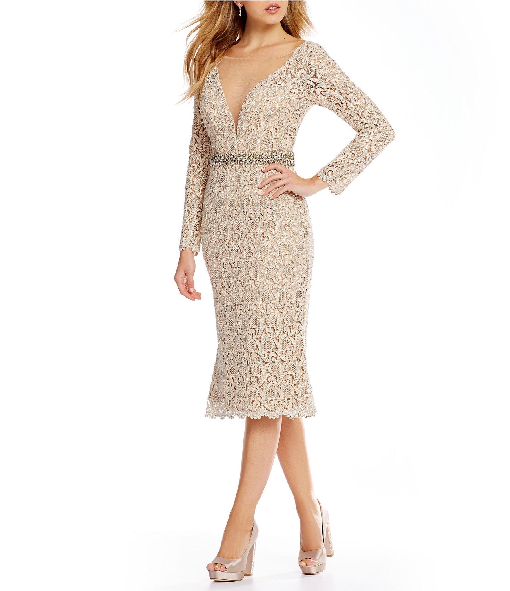 Terani Couture Beaded Lace Midi Sheath Dress Dillards