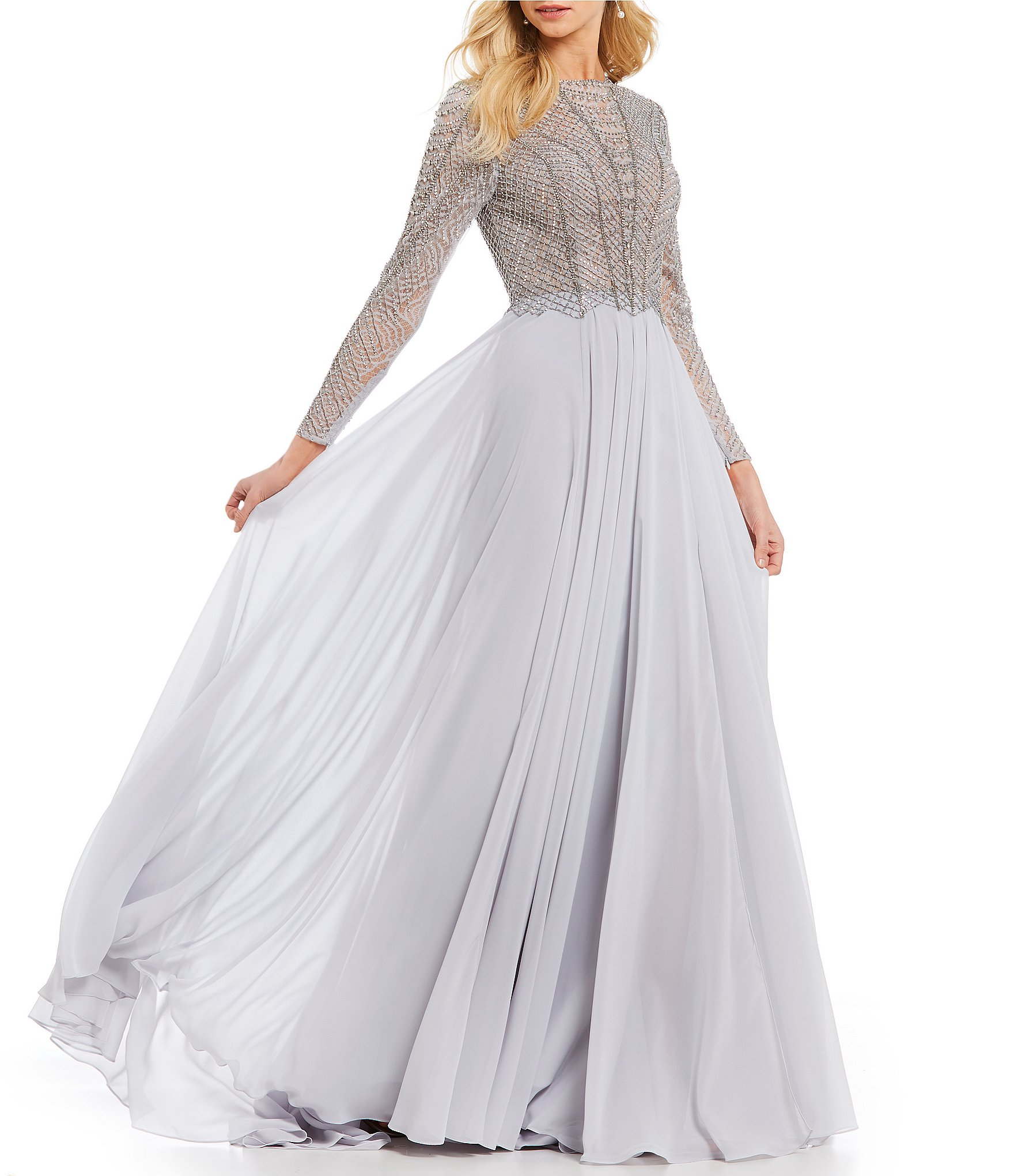 Long Sleeve White Lace Bodice Chiffon Skirt Elegant Simple: Terani Couture Long Sleeve Beaded Bodice Ball Gown