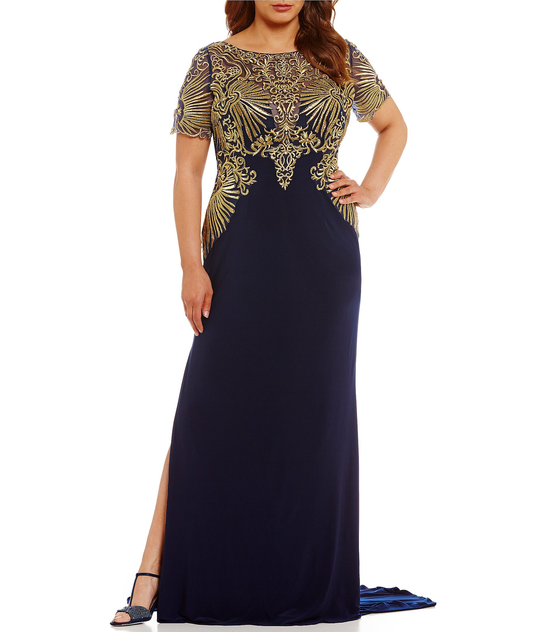 Terani couture plus short sleeve embroidered gown dillards