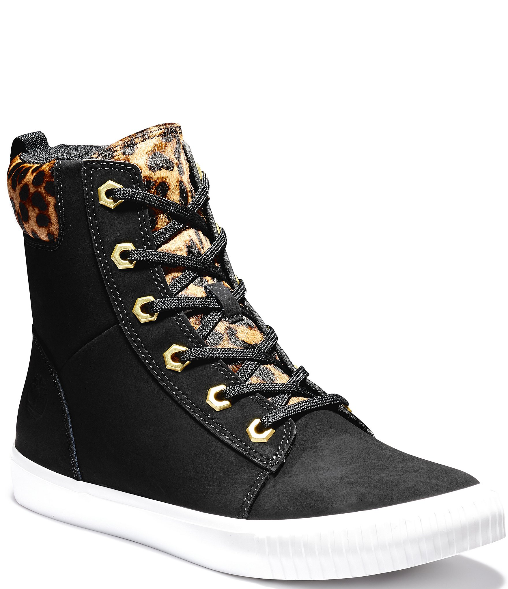 Leopard Print Accent Leather Booties