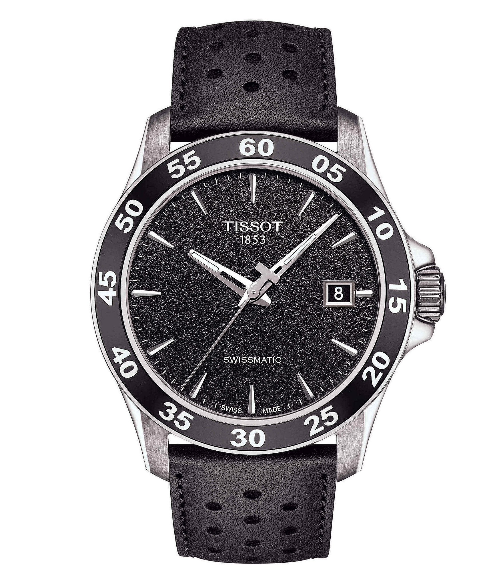 Tissot v8 men 39 s black leather strap mechanical automatic watch dillard 39 s for Celebrity tissot watches