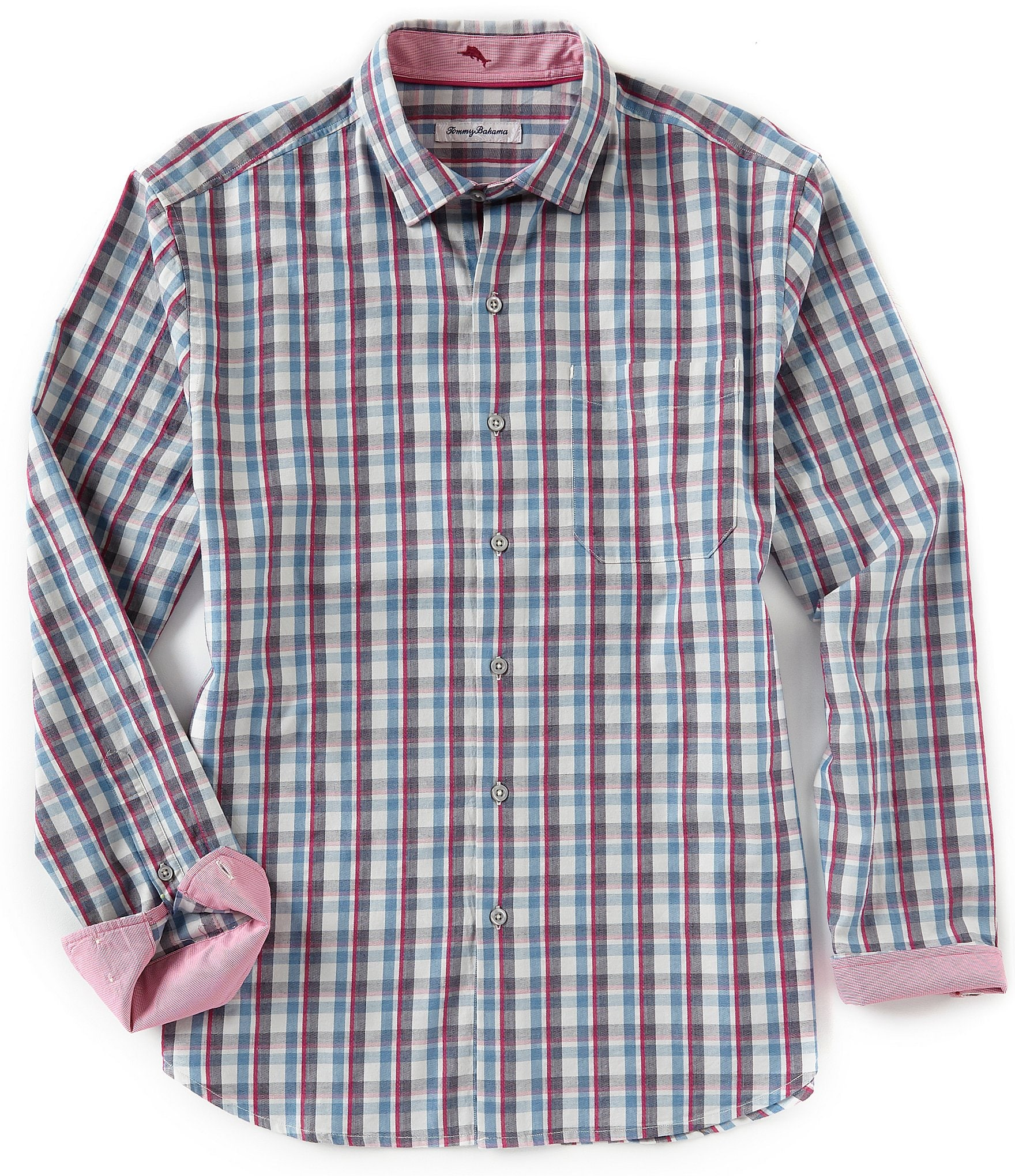 Sizing Chart With Common Left Chest Heart And Pocket: Tommy Bahama Palmar Plaid Long-Sleeve Woven Shirt