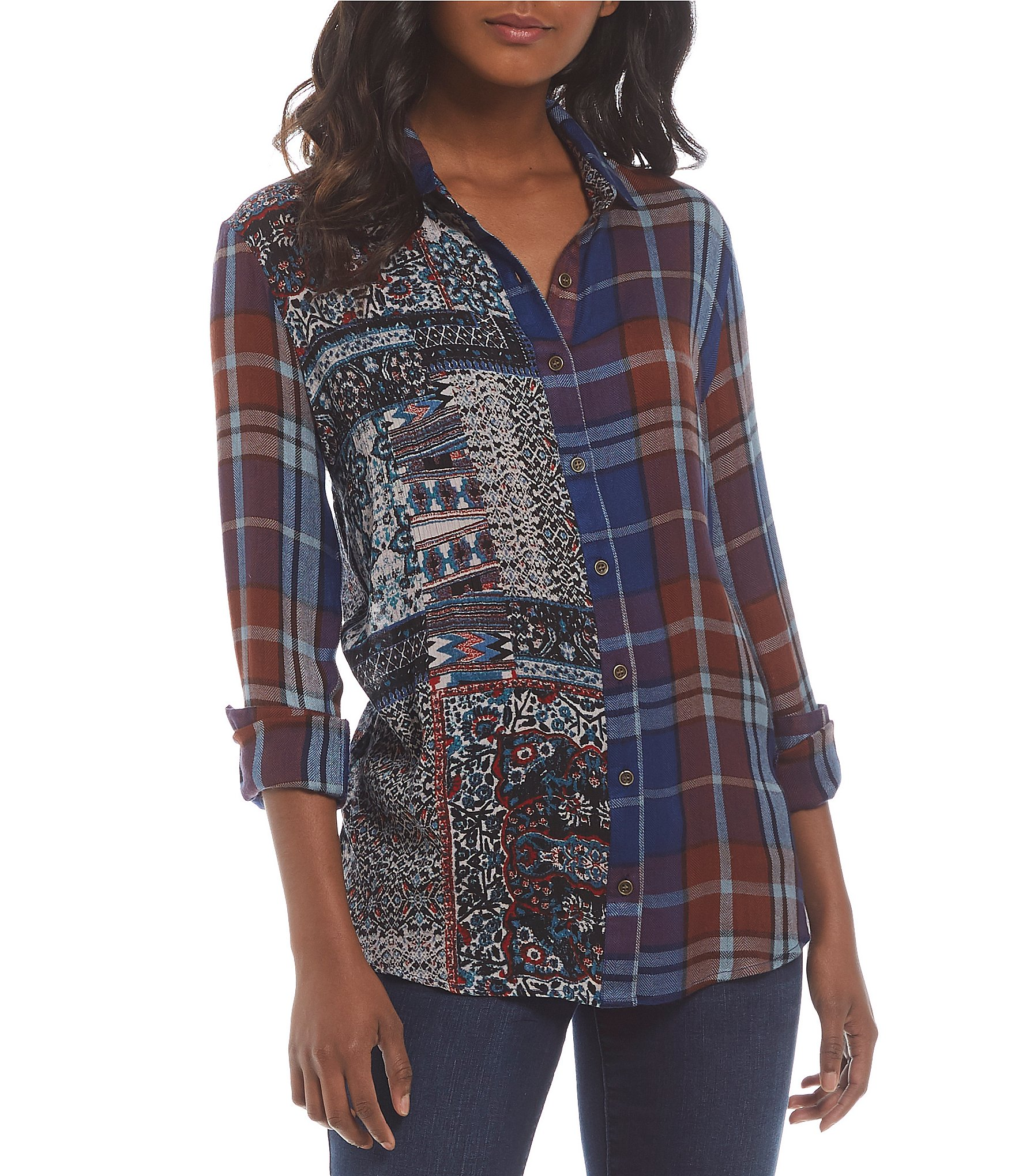 Tru luxe jeans mixed print plaid shirt dillards for Mixed plaid shirt mens