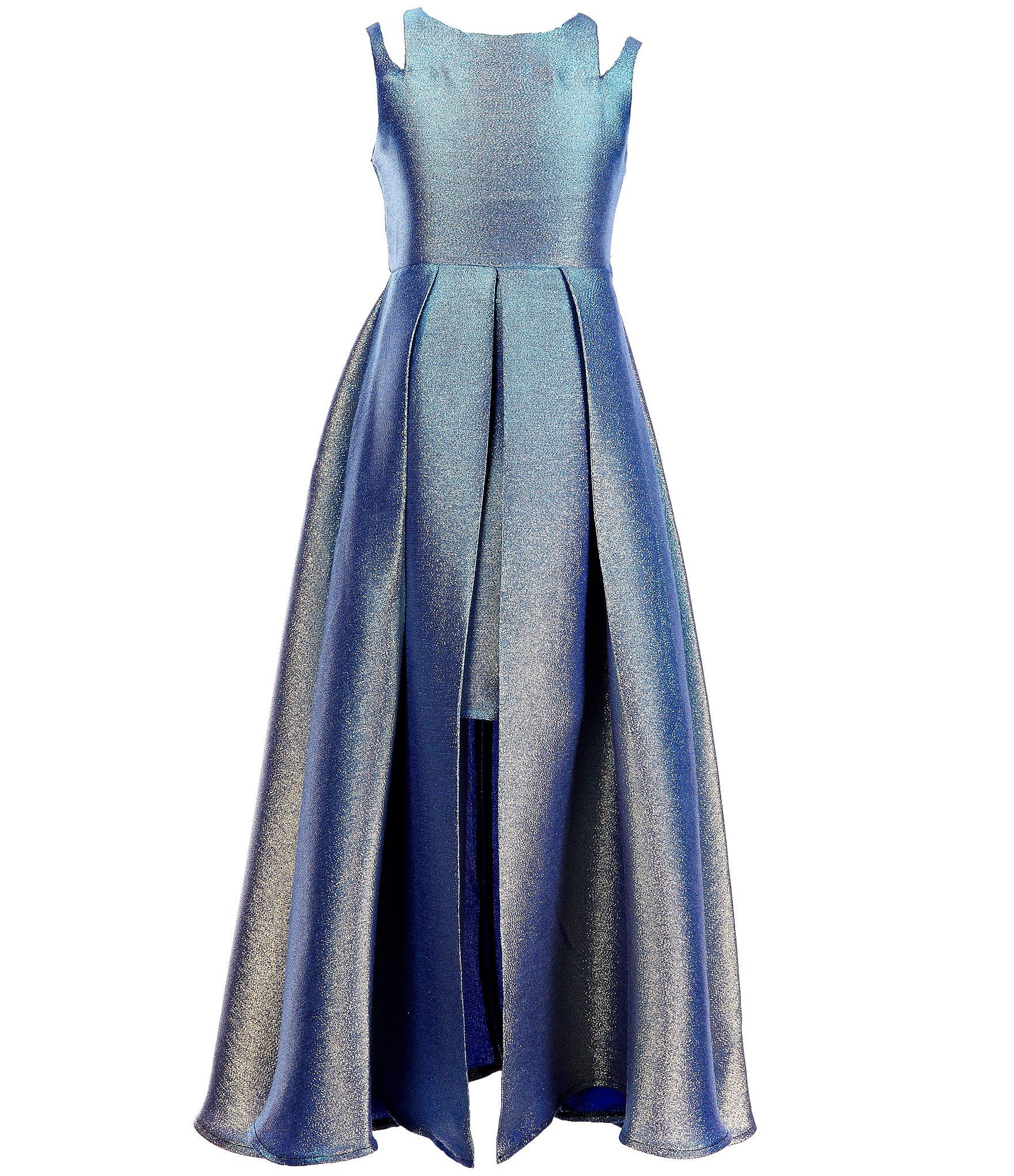 tween diva big girls 7 16 double strap metallic brocade dress dillards. Black Bedroom Furniture Sets. Home Design Ideas
