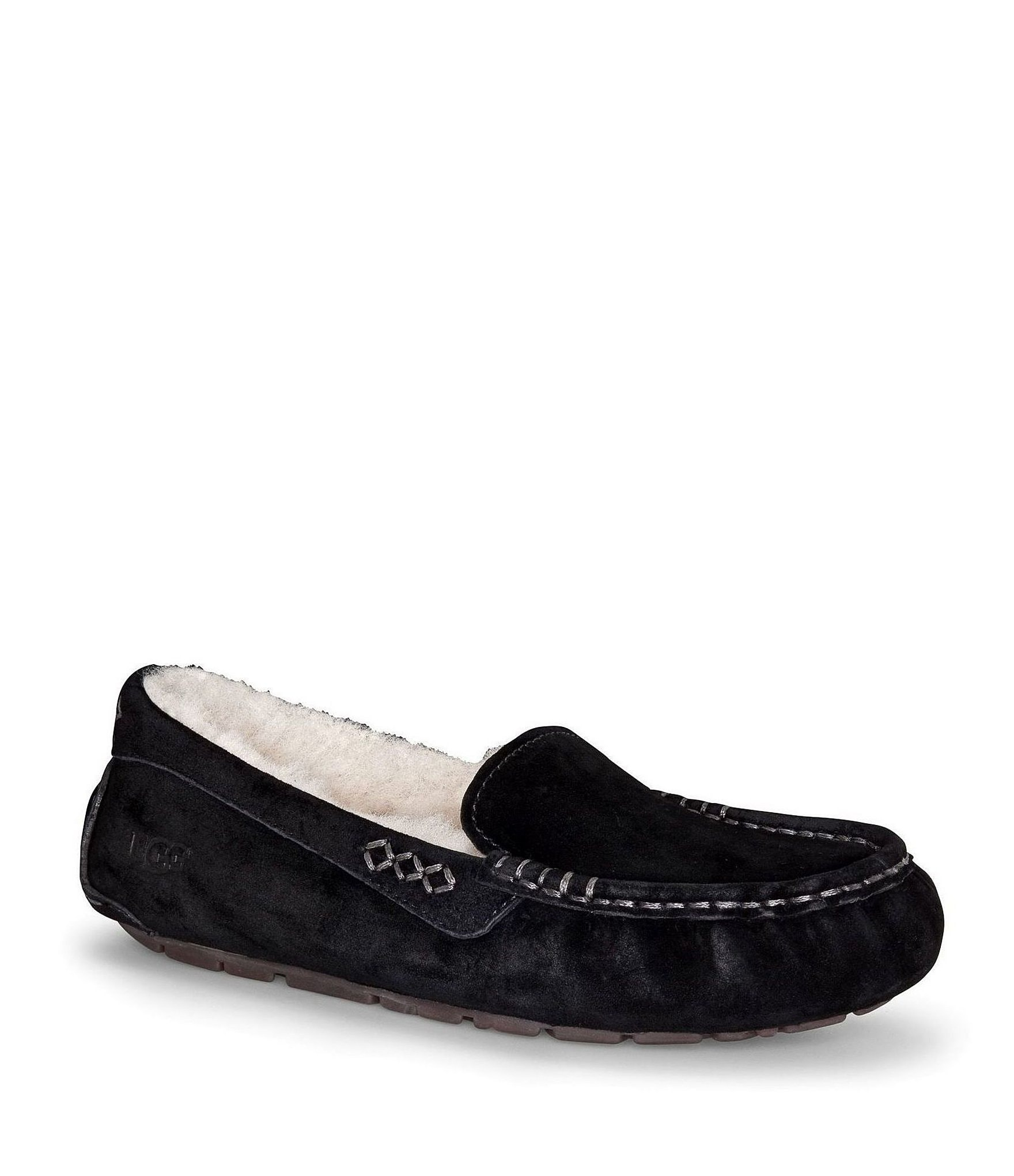 0455317f677 UGG® Ansley Water Resistant Suede Stitch Detailed Moccasin Slippers |  Dillard's