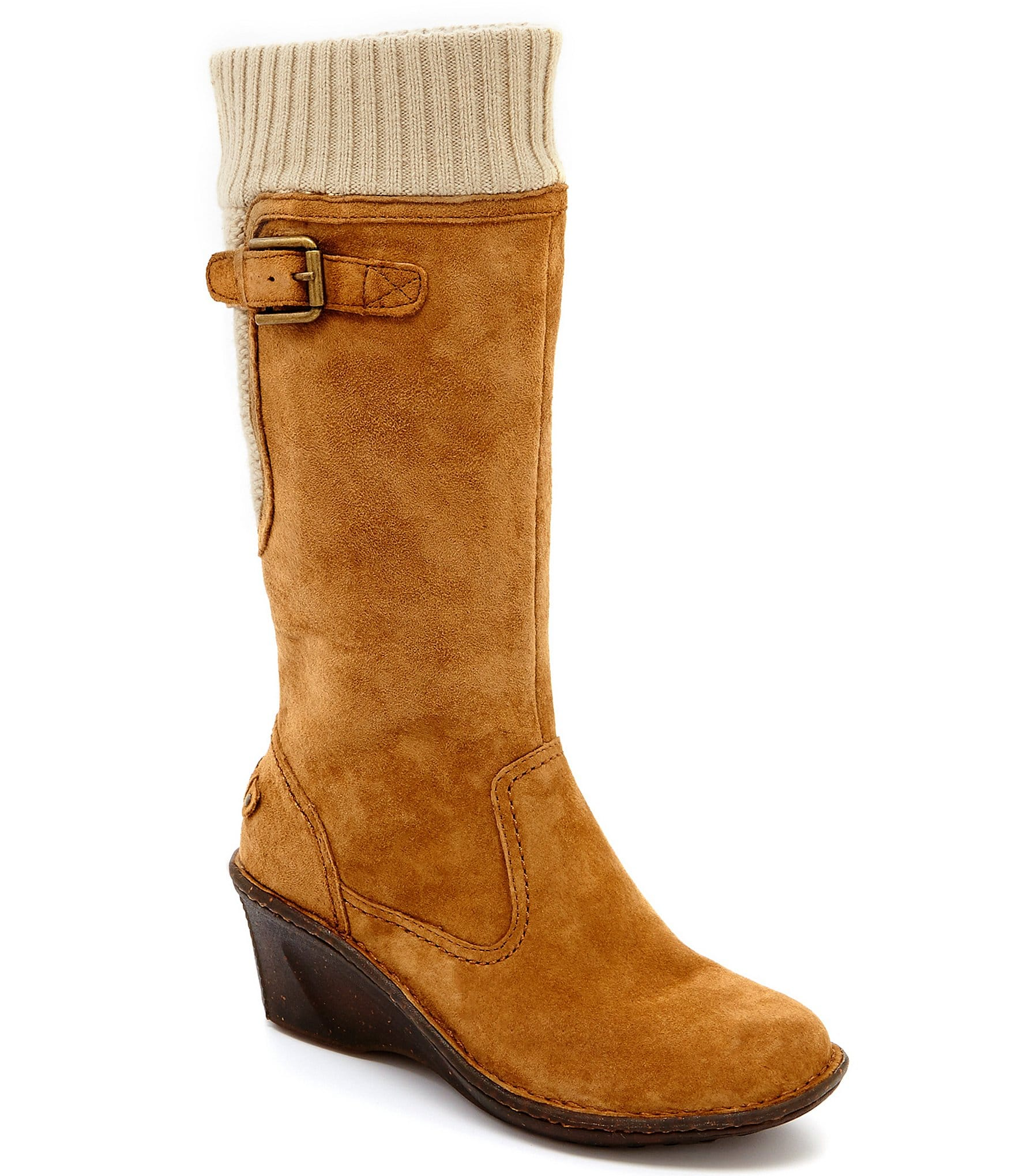 ugg 174 skyfall sweater cuff suede wedge boots dillards