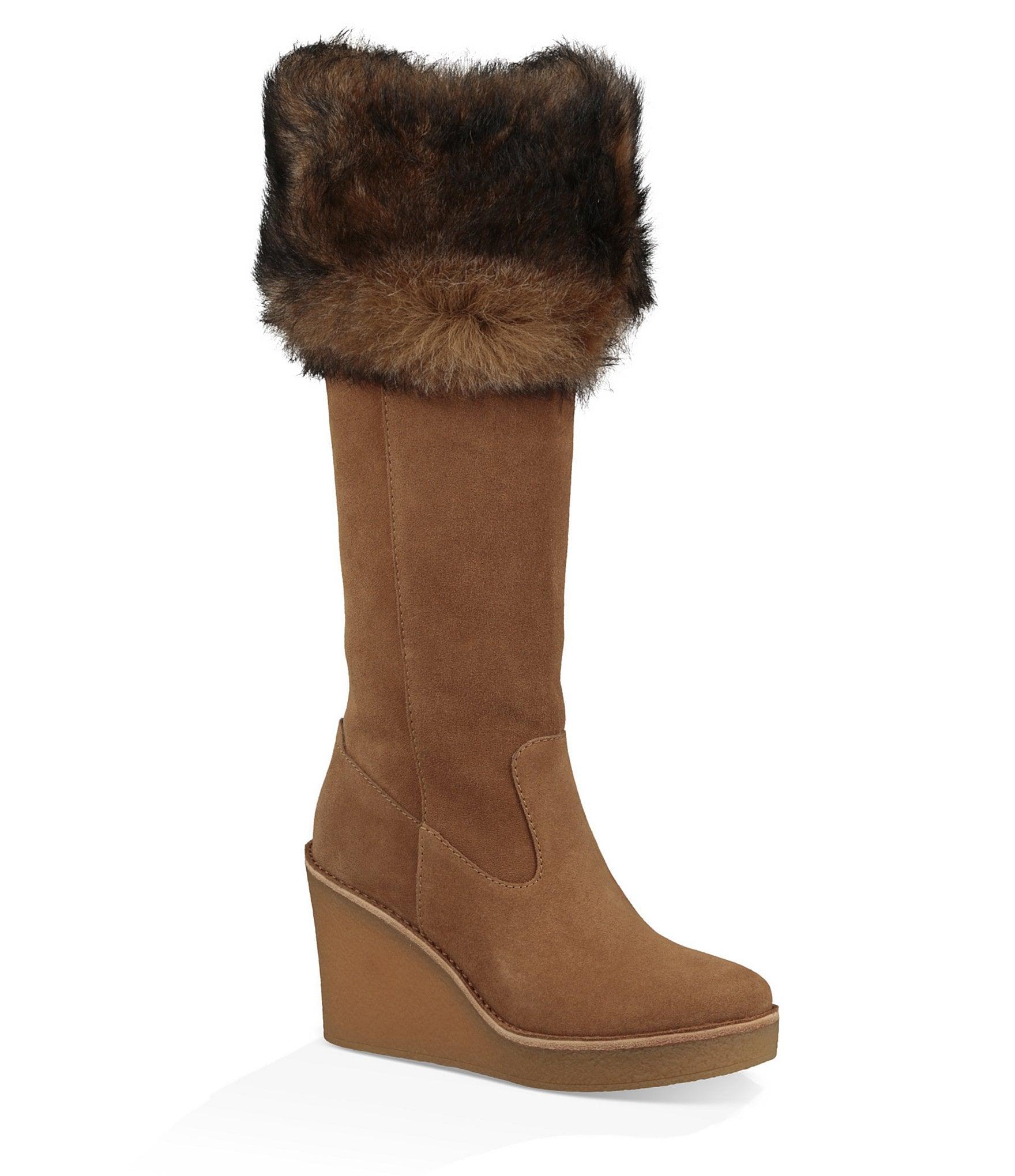 ugg 174 valberg suede fur cuff wedge boots dillards