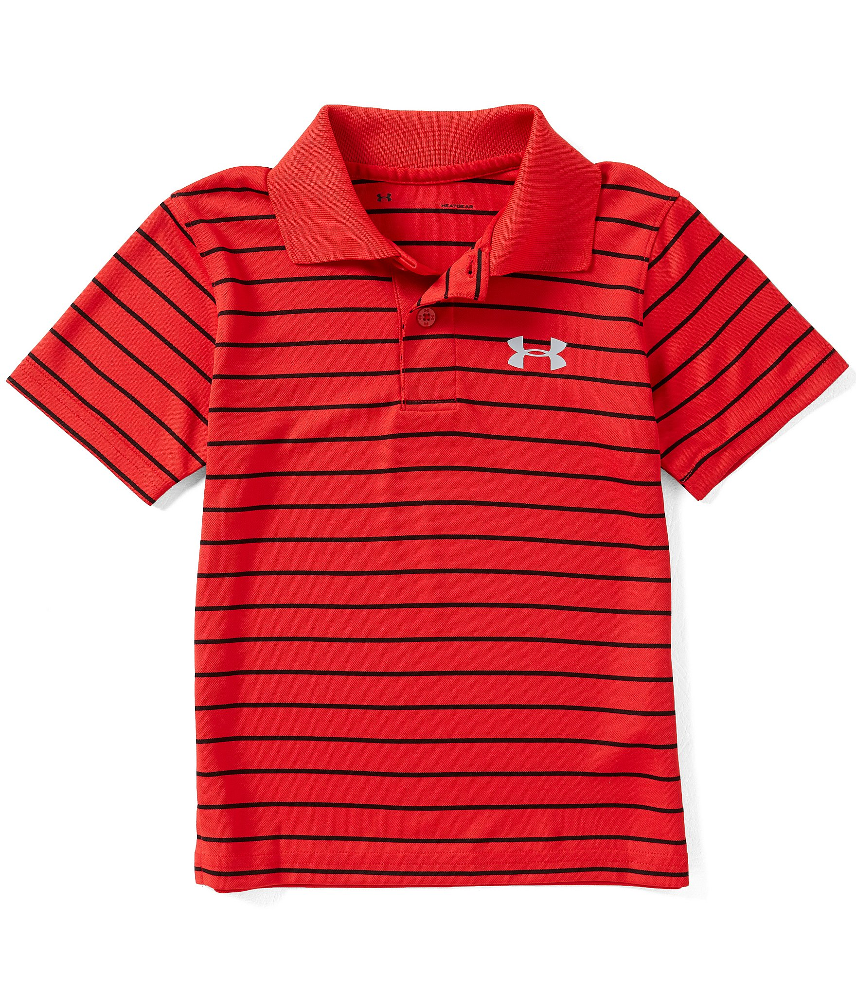 Under armour little boys 4 7 playoff striped short sleeve for Boys striped polo shirts