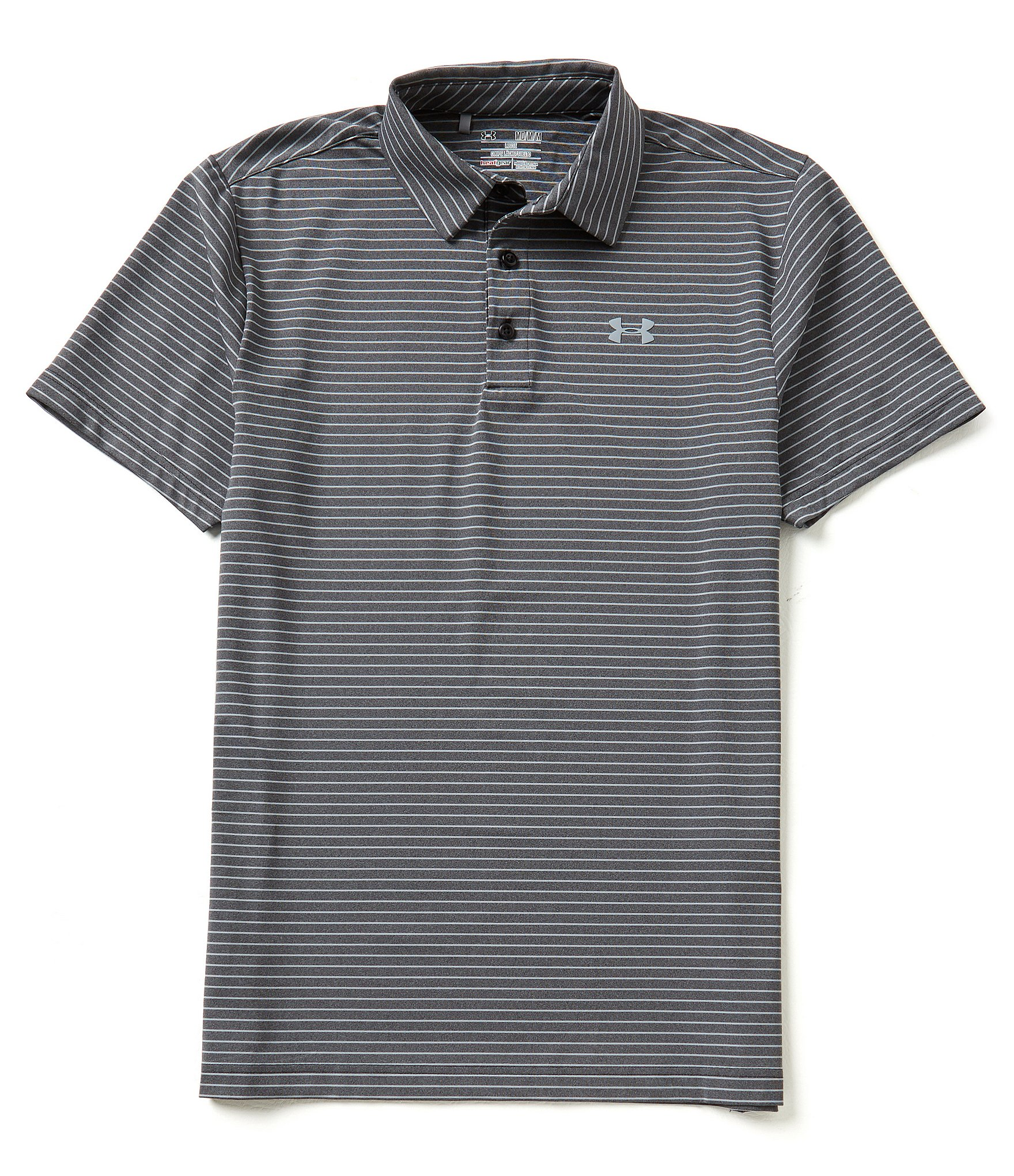 Under armour golf playoff heather horizontal stripe polo for Under armor polo shirts