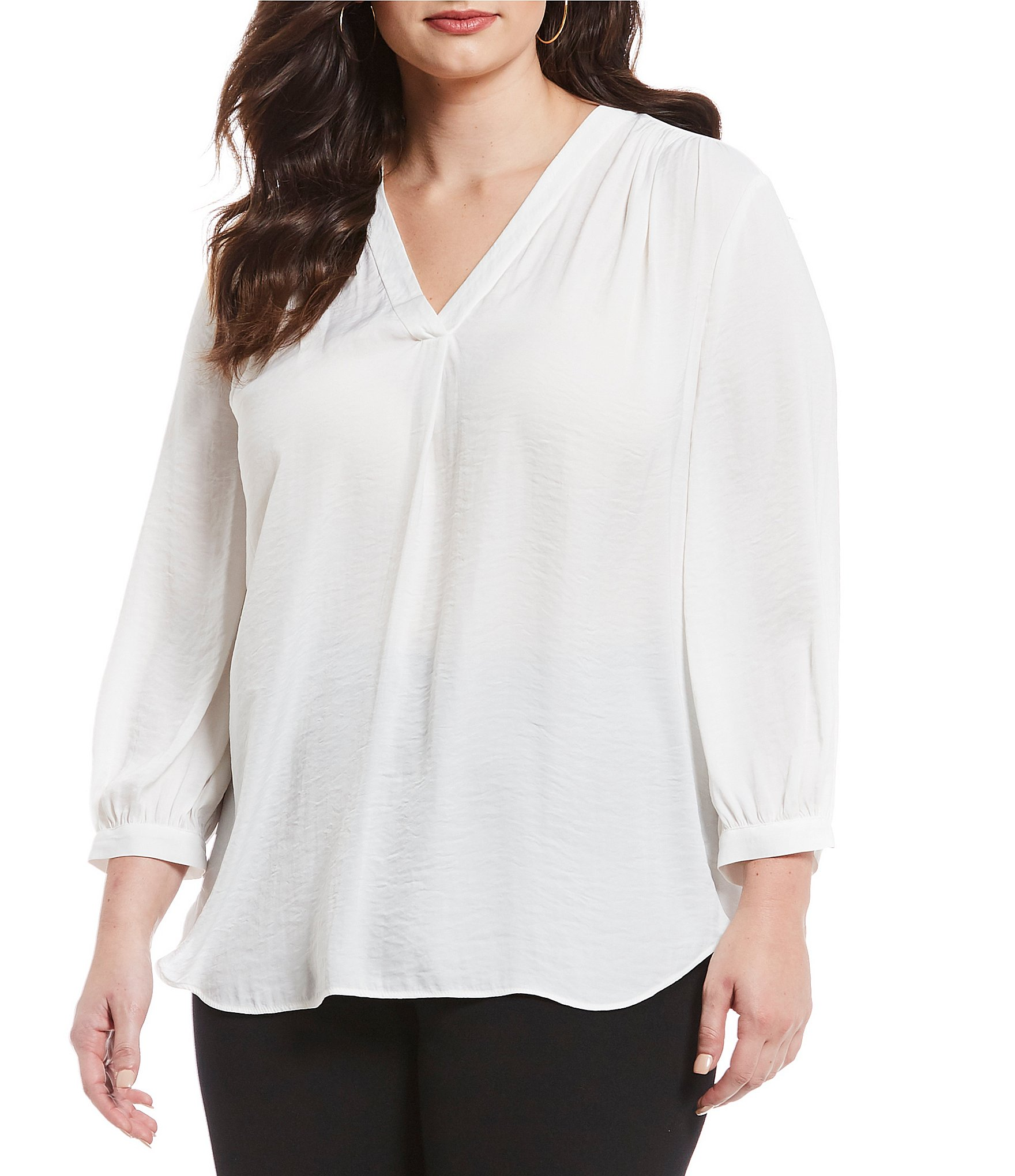 b4db93f4763 Vince Camuto Plus Size V-Neck Bishop Sleeve Rumple Blouse
