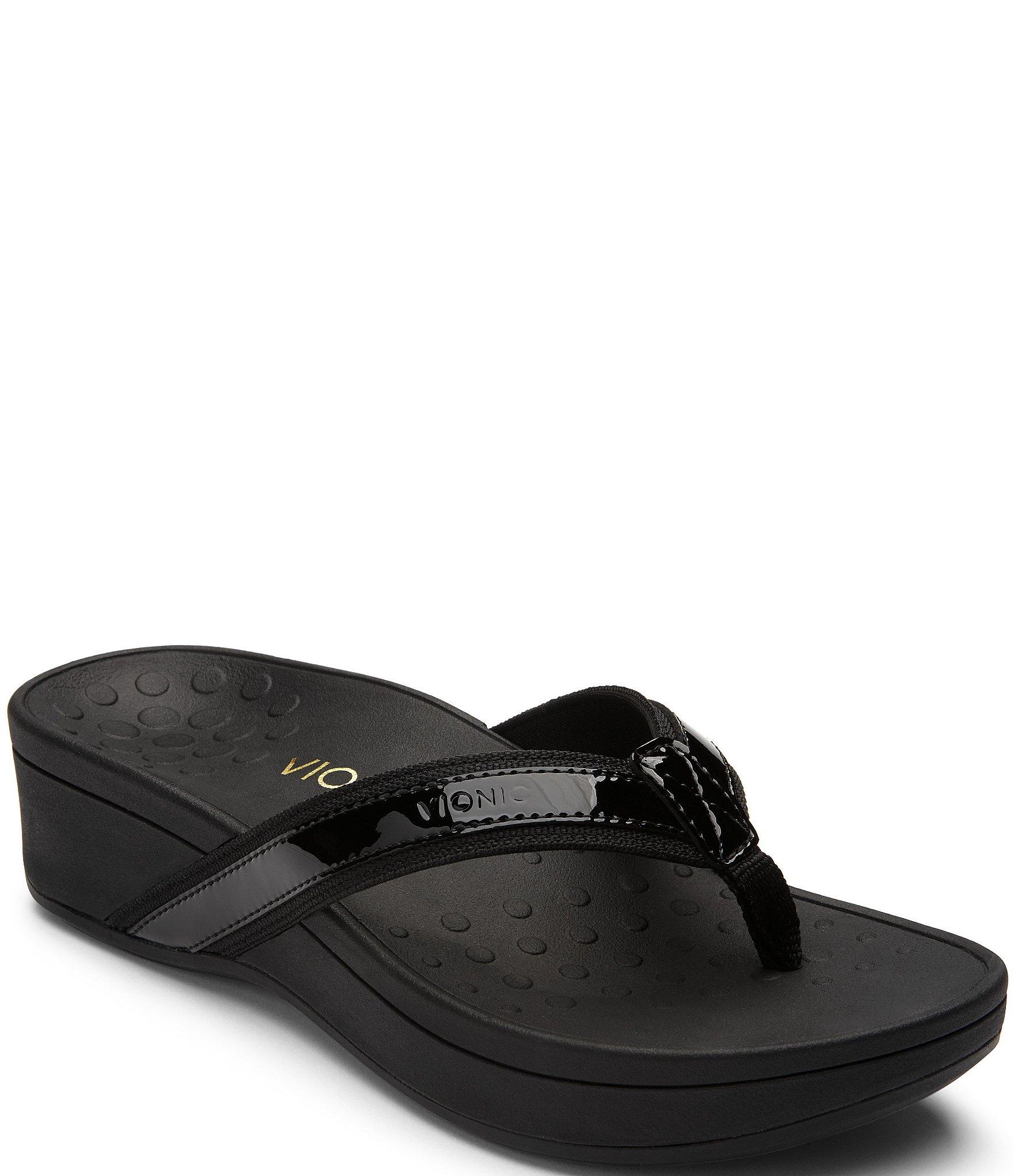 Vionic Pacific High Tide Leather  Textile Flip-Flops -4956